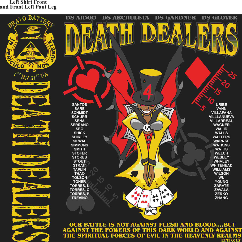 PLATOON SHIRTS (2nd generation print) BRAVO 1st 31st DEATH DEALERS MAR 2016