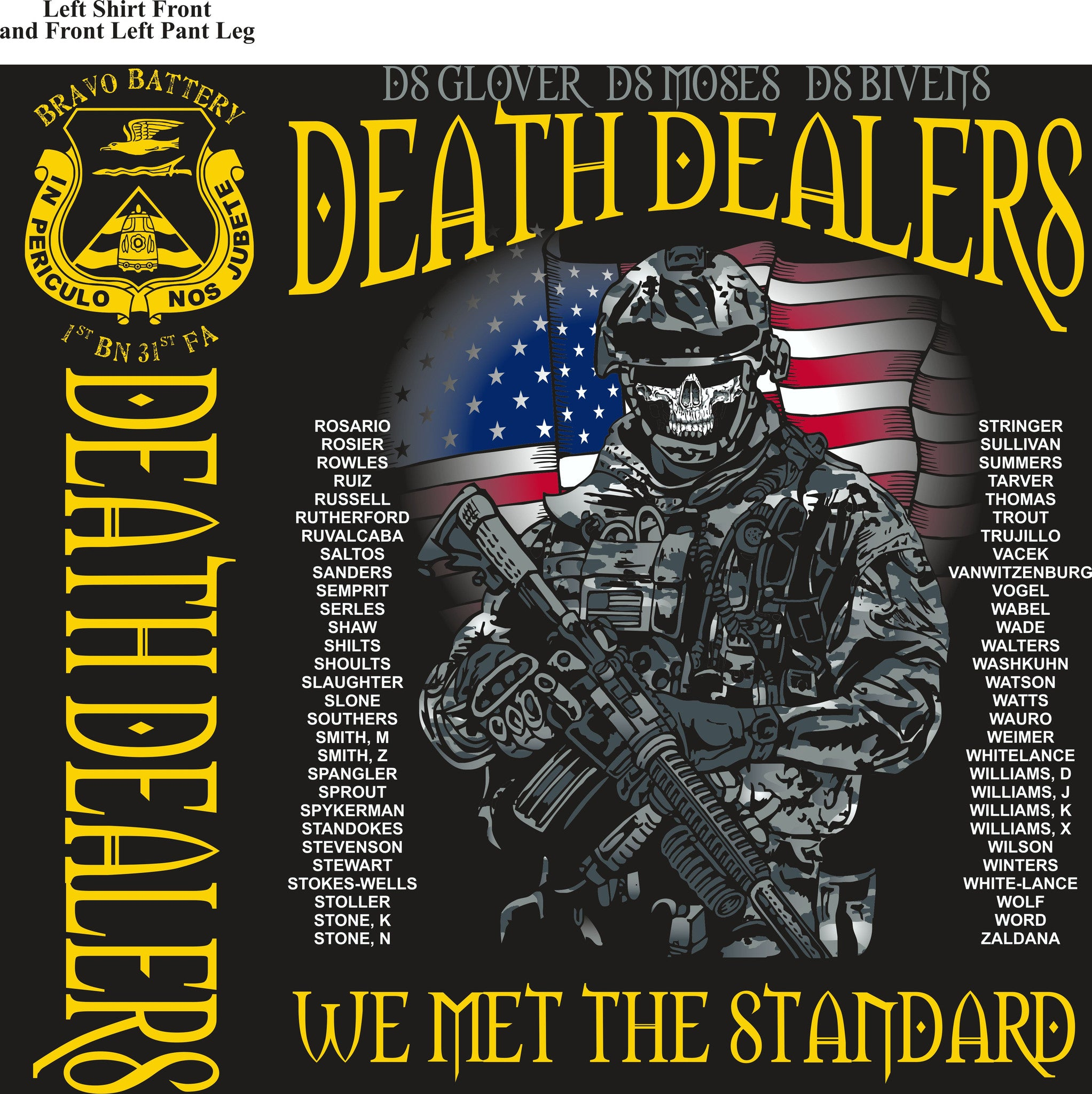 PLATOON SHIRTS (2nd generation print) BRAVO 1st 31st DEATH DEALERS SEPT 2016