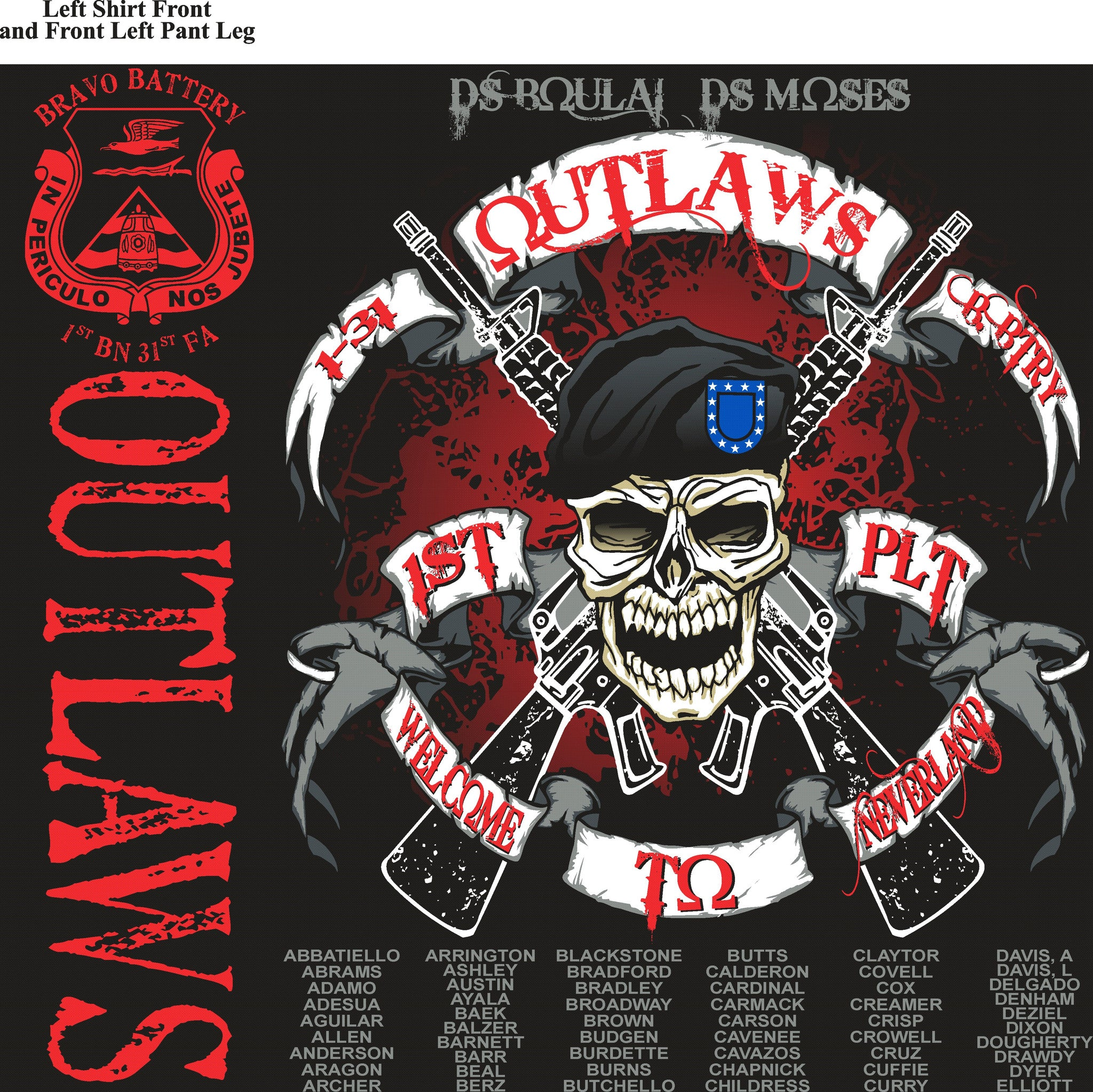 Platoon Shirts BRAVO 1st 31st OUTLAWS SEPT 2015