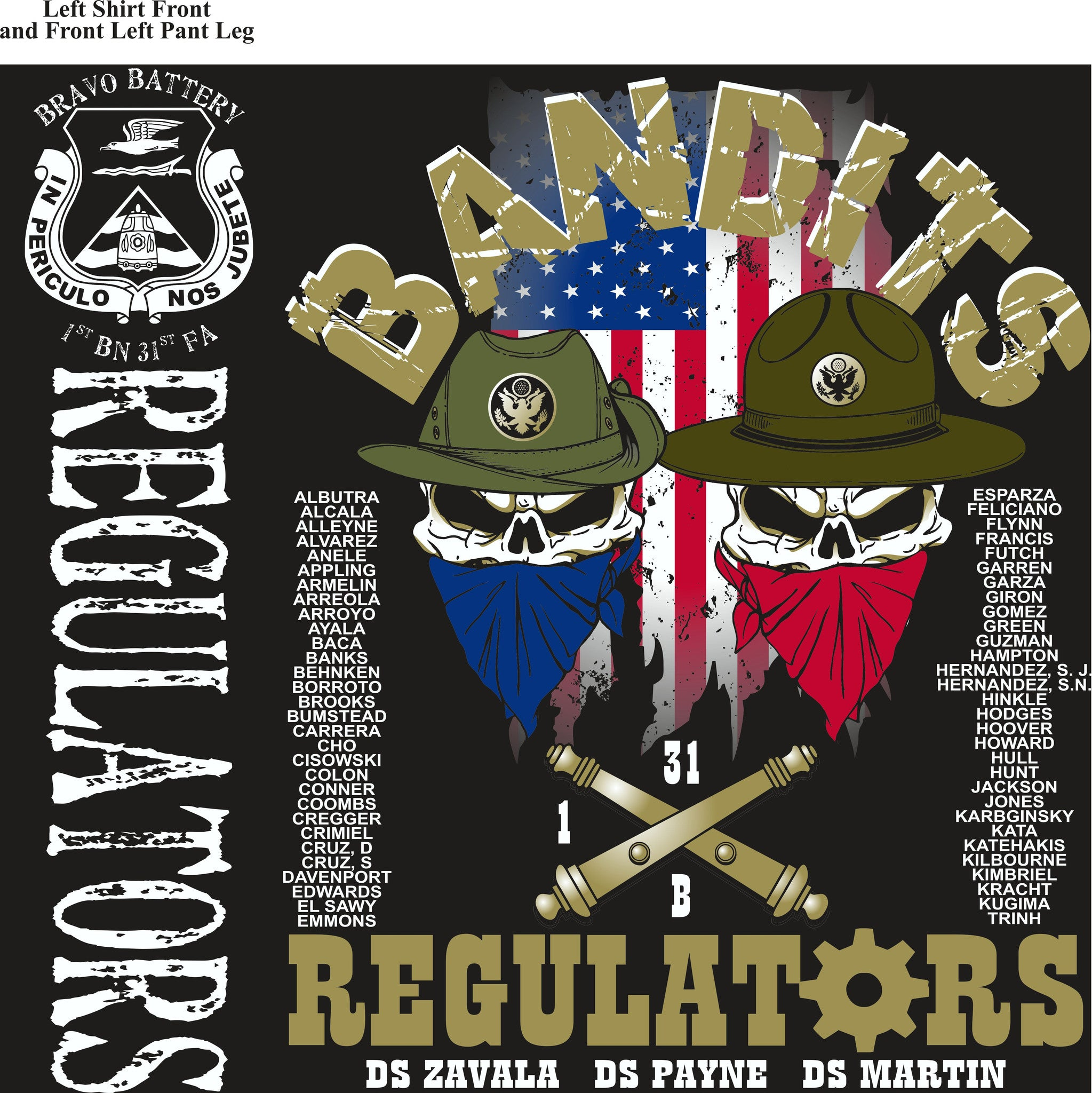 PLATOON SHIRTS (2nd generation print) BRAVO 1st 31st REGULATORS APR 2017