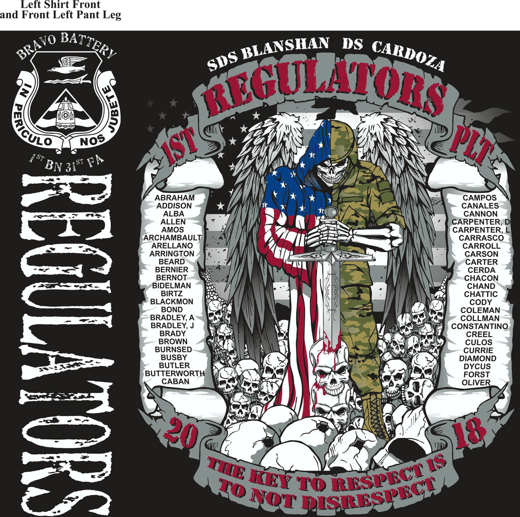 Platoon Shirts (2nd generation print) BRAVO 1st 31st REGULATORS APR 2018