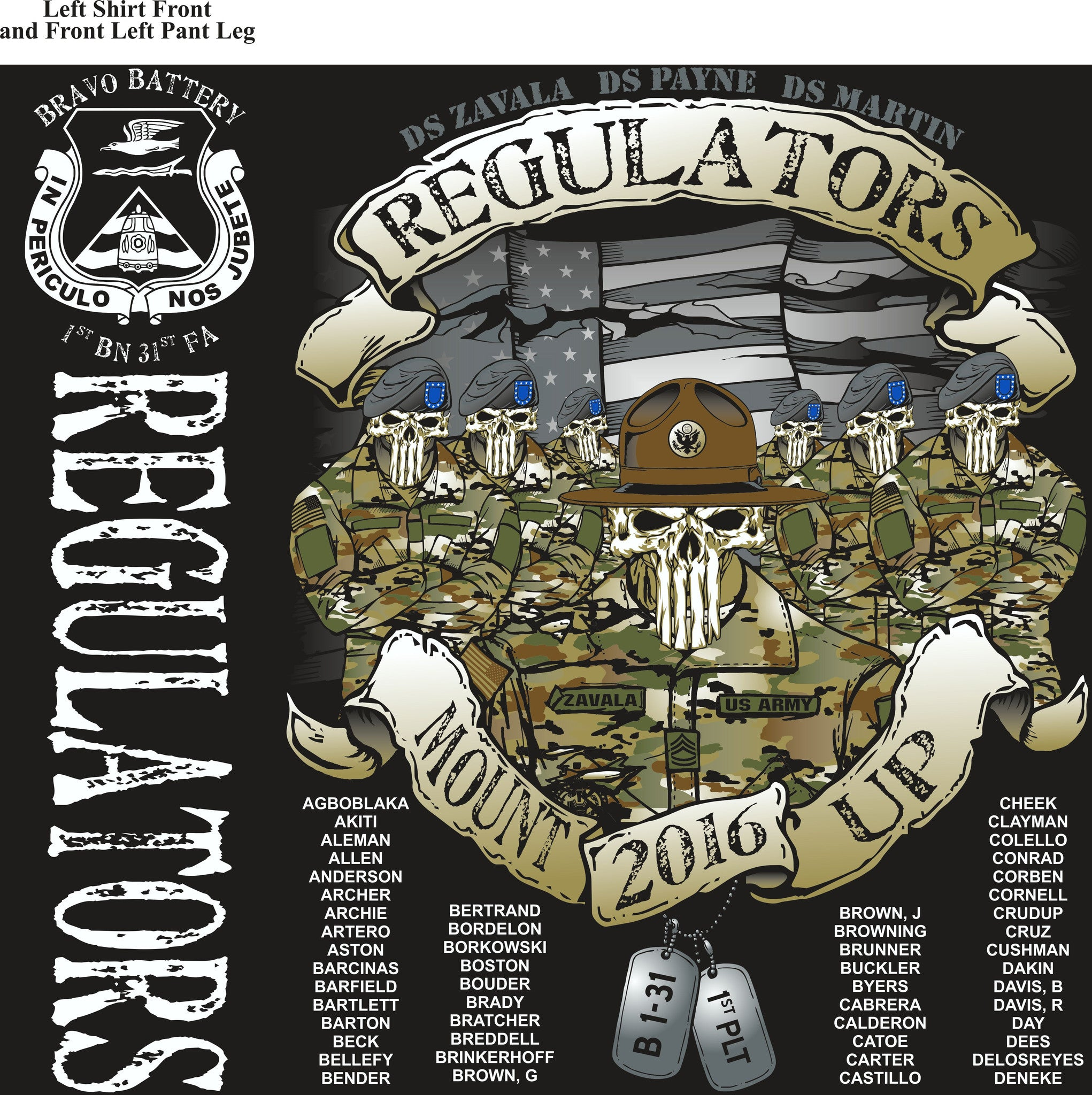 PLATOON SHIRTS (2nd generation print) BRAVO 1st 31st REGULATORS DEC 2016