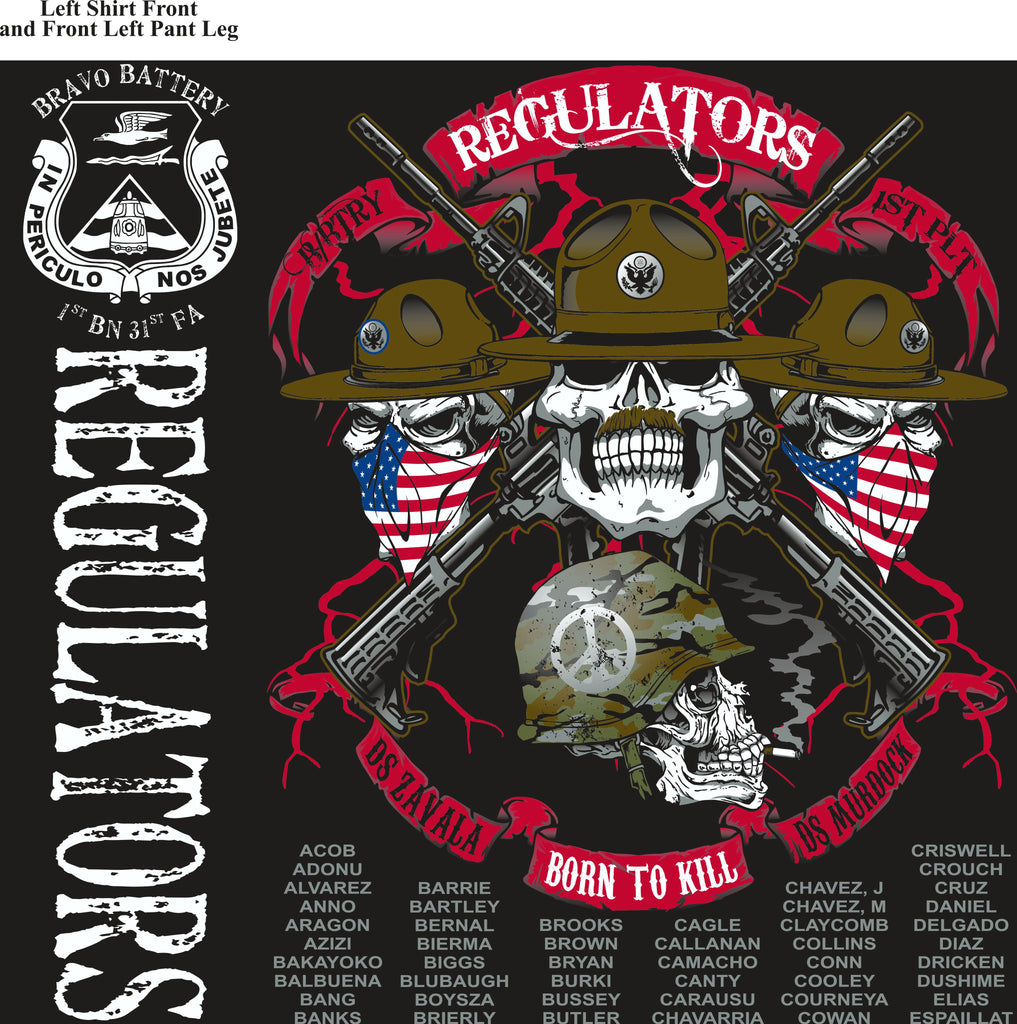 PLATOON SHIRTS (2nd generation print) BRAVO 1st 31st REGULATORS JULY 2017