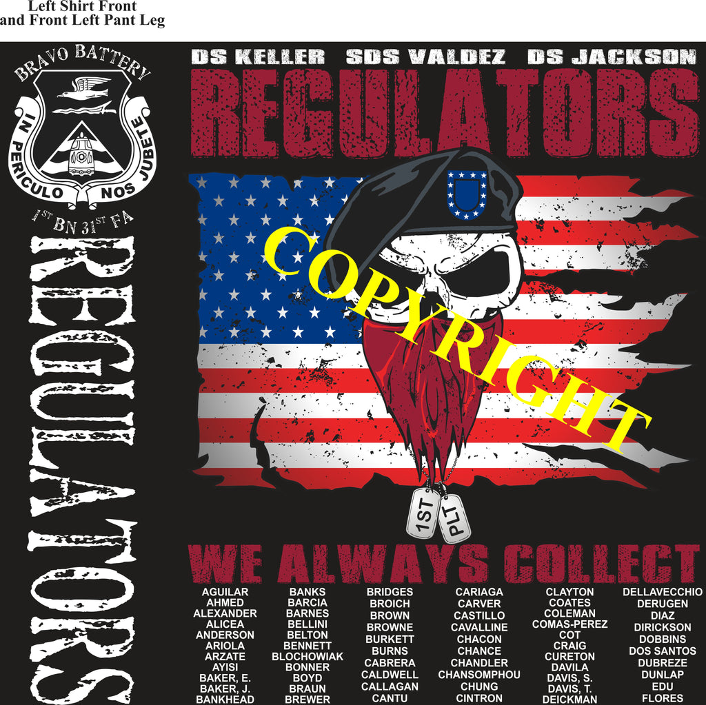 Platoon Shirts (2nd generation print) BRAVO 1st 31st REGULATORS NOV 2019