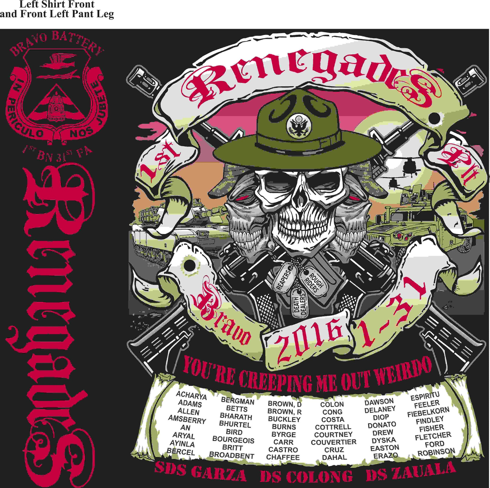 PLATOON SHIRTS (2nd generation print) BRAVO 1st 31st RENEGADES MAR 2016