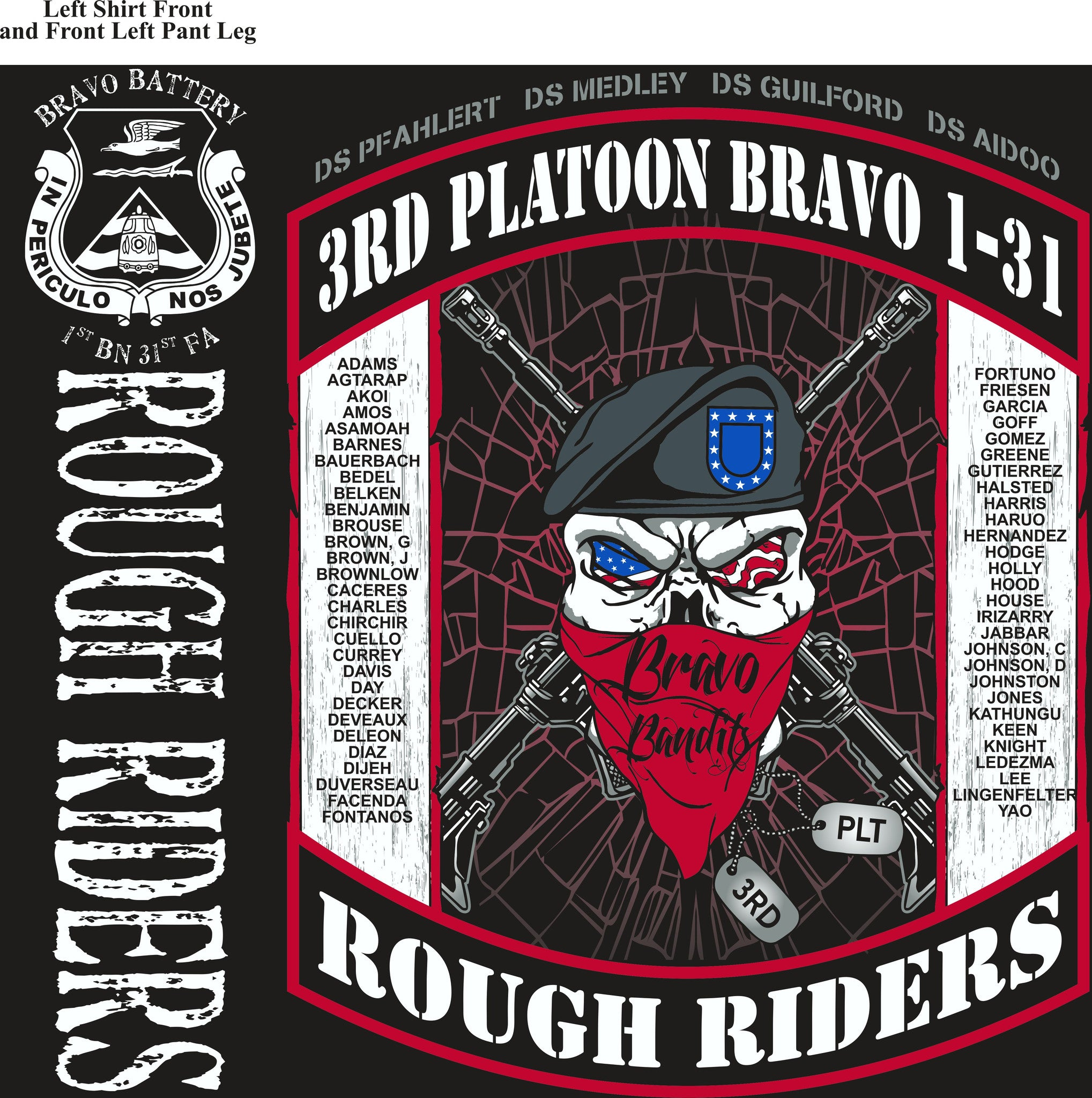 PLATOON SHIRTS (2nd generation print) BRAVO 1st 31st ROUGH RIDERS APR 2017