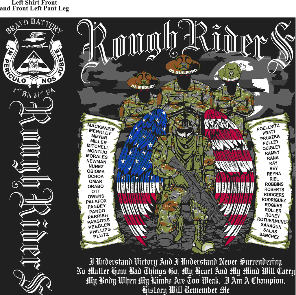 PLATOON SHIRTS (2nd generation print) BRAVO 1st 31st ROUGH RIDERS MAR 2016