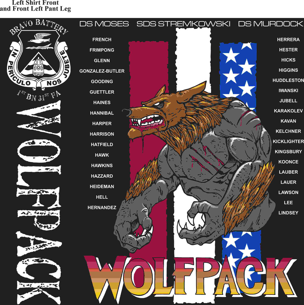 PLATOON SHIRTS (2nd generation print) BRAVO 1st 31st WOLFPACK JUNE 2016