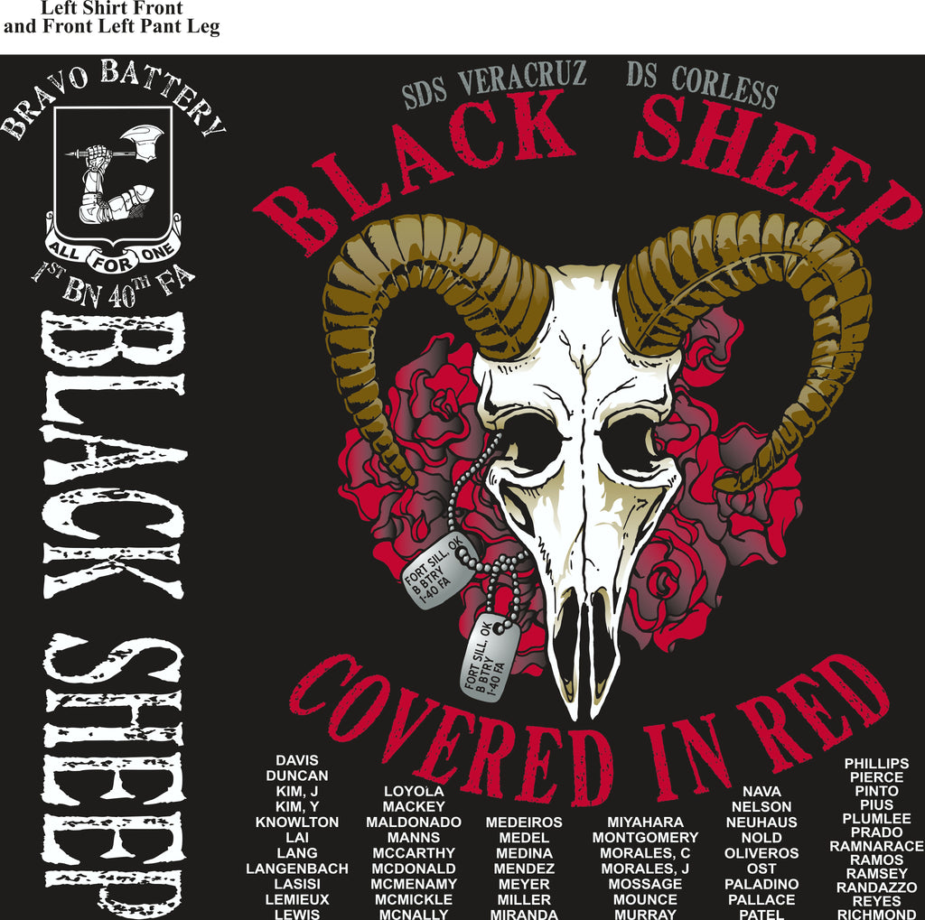Platoon Shirts (2nd generation print) BRAVO 1st 40th BLACK SHEEP AUG 2018