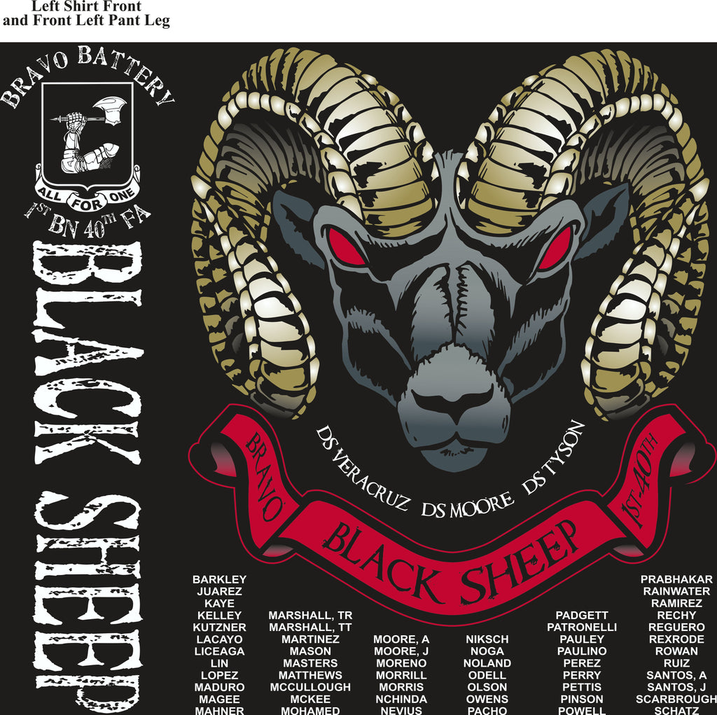 PLATOON SHIRTS (2nd generation print) BRAVO 1st 40th BLACK SHEEP JULY 2017