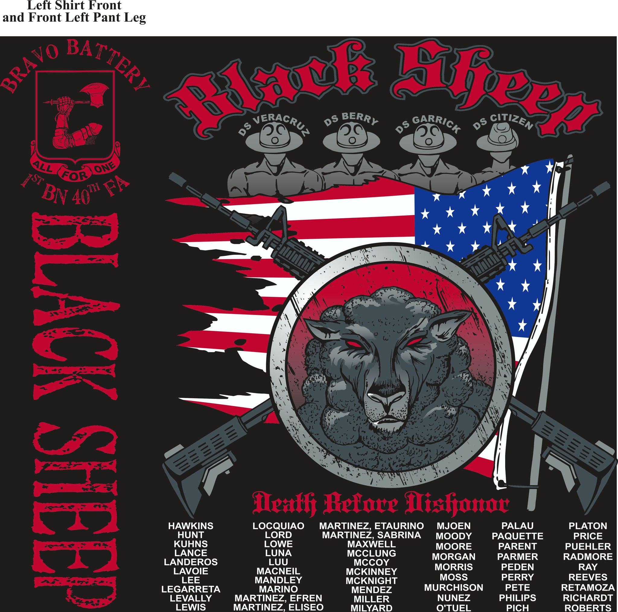 PLATOON SHIRTS (2nd generation print) BRAVO 1st 40th BLACK SHEEP OCT 2016