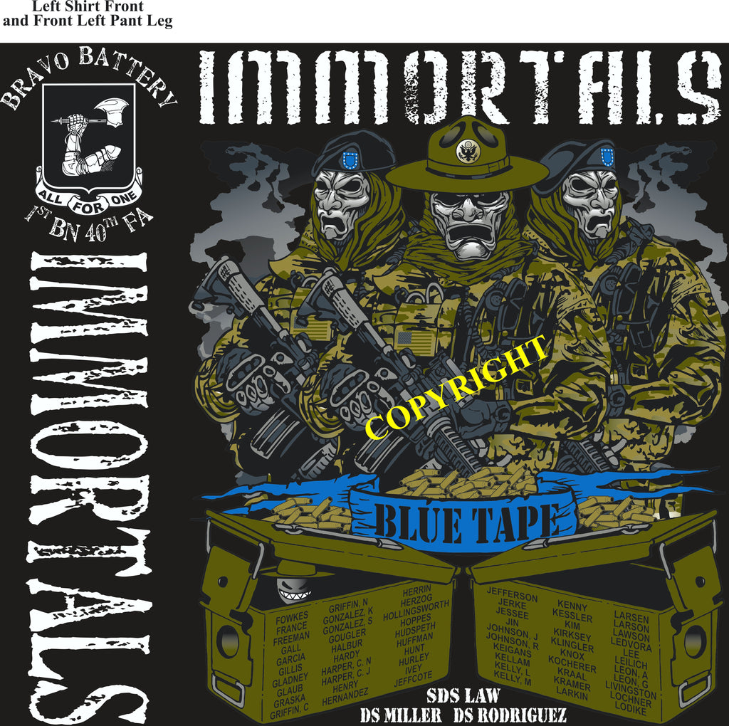 Platoon Shirts (2nd generation print) BRAVO 1st 40th IMMORTALS OCT 2018