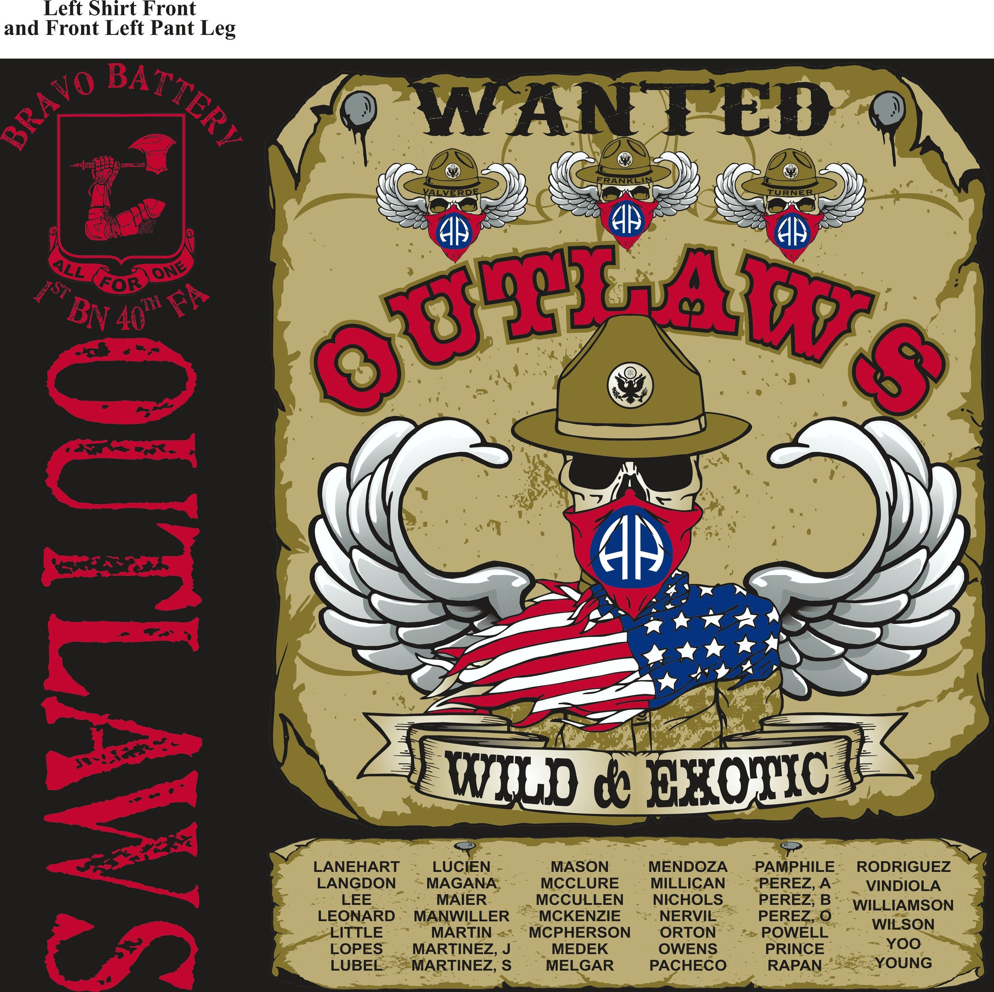 Platoon Shirts BRAVO 1st 40th OUTLAWS APR 2015