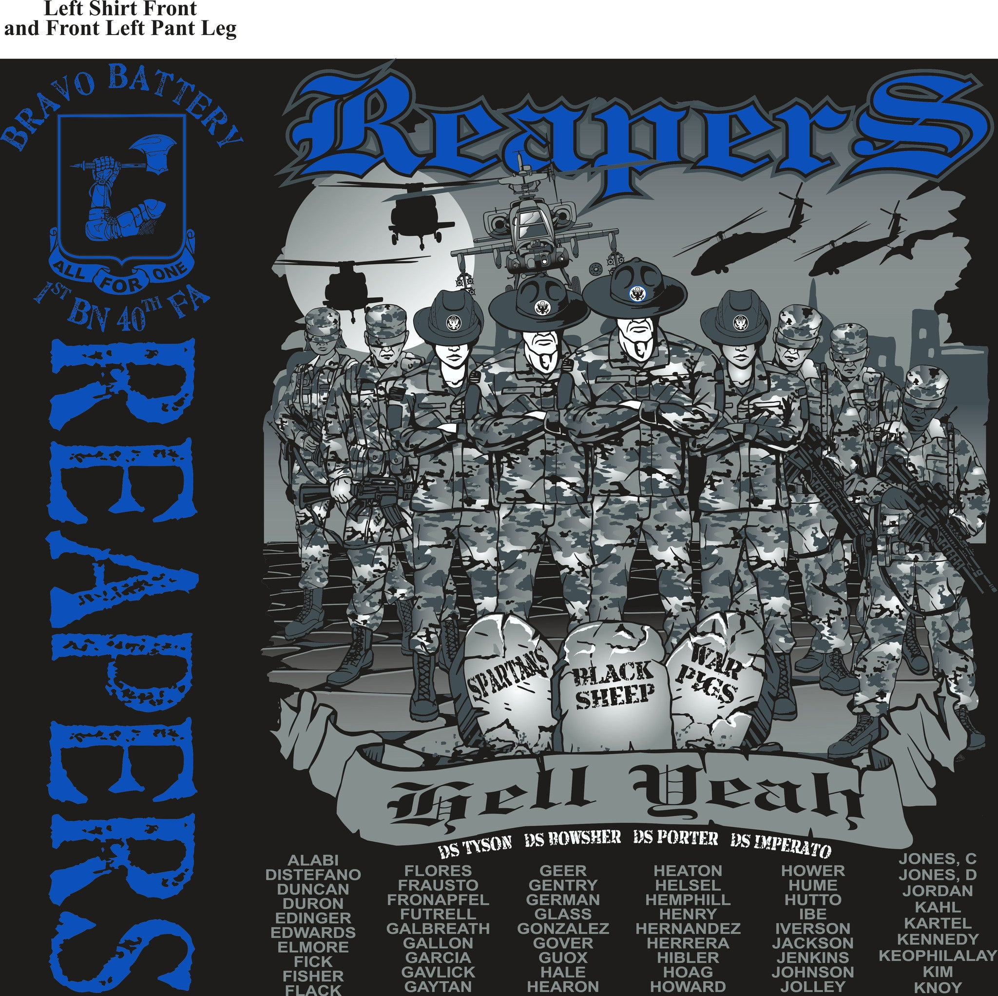 PLATOON SHIRTS (2nd generation print) BRAVO 1st 40th REAPERS OCT 2016