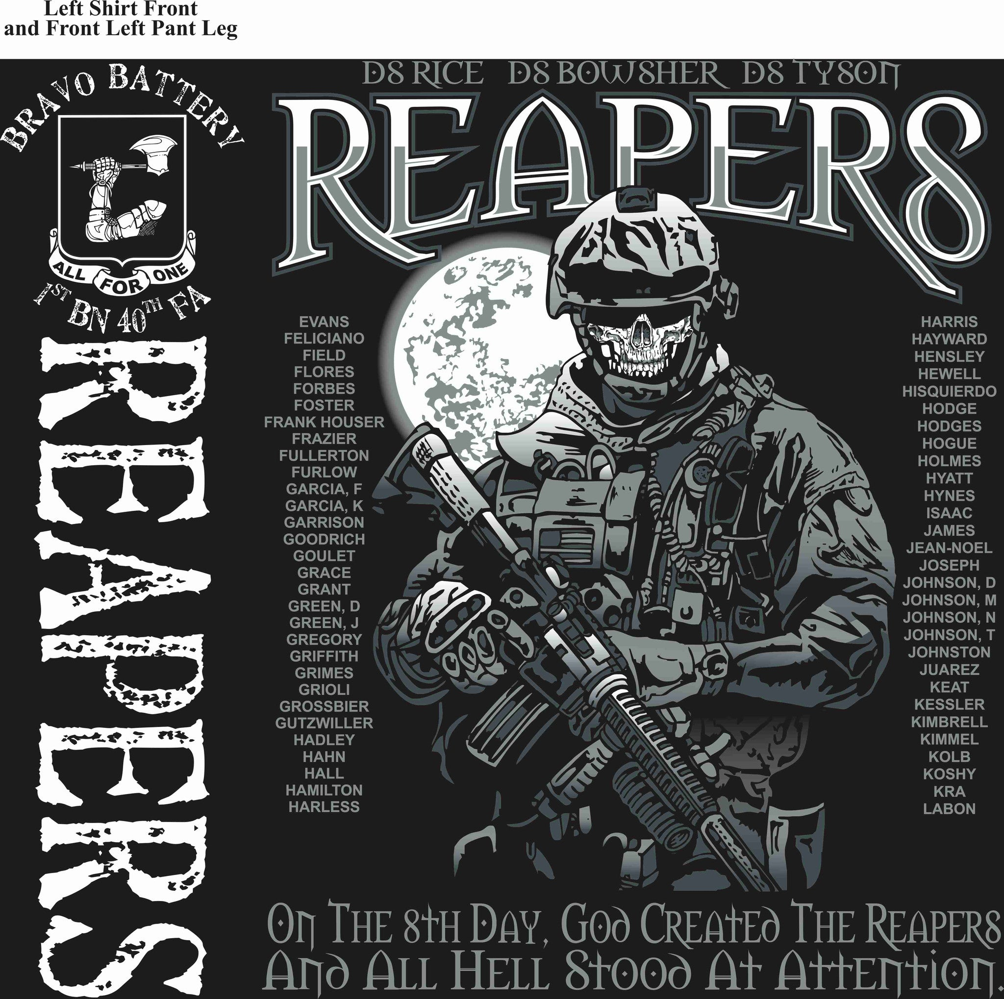 Platoon Shirts BRAVO 1st 40th REAPERS SEPT 2015