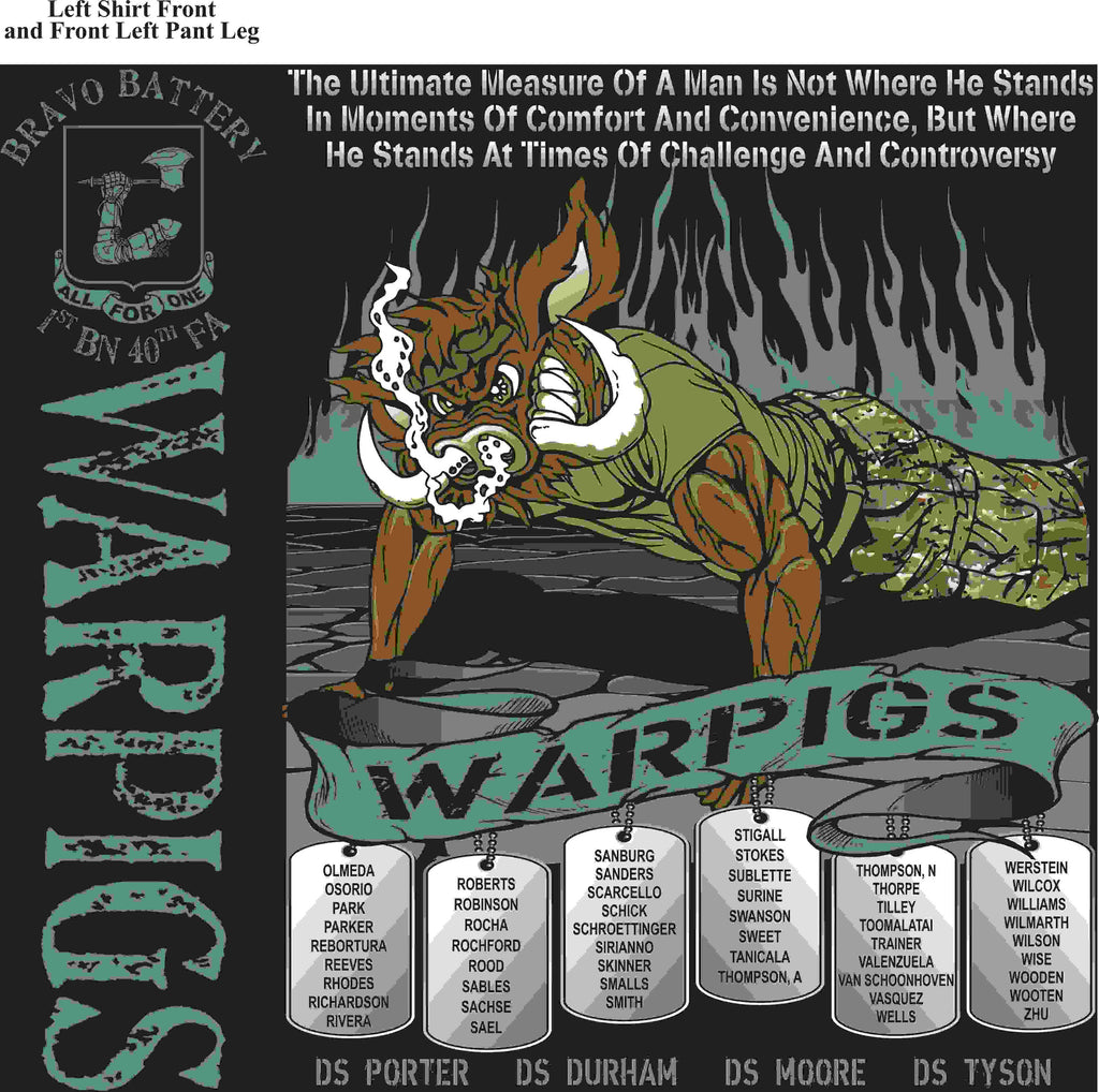 PLATOON SHIRTS (2nd generation print) BRAVO 1st 40th WARPIGS  APR 2016