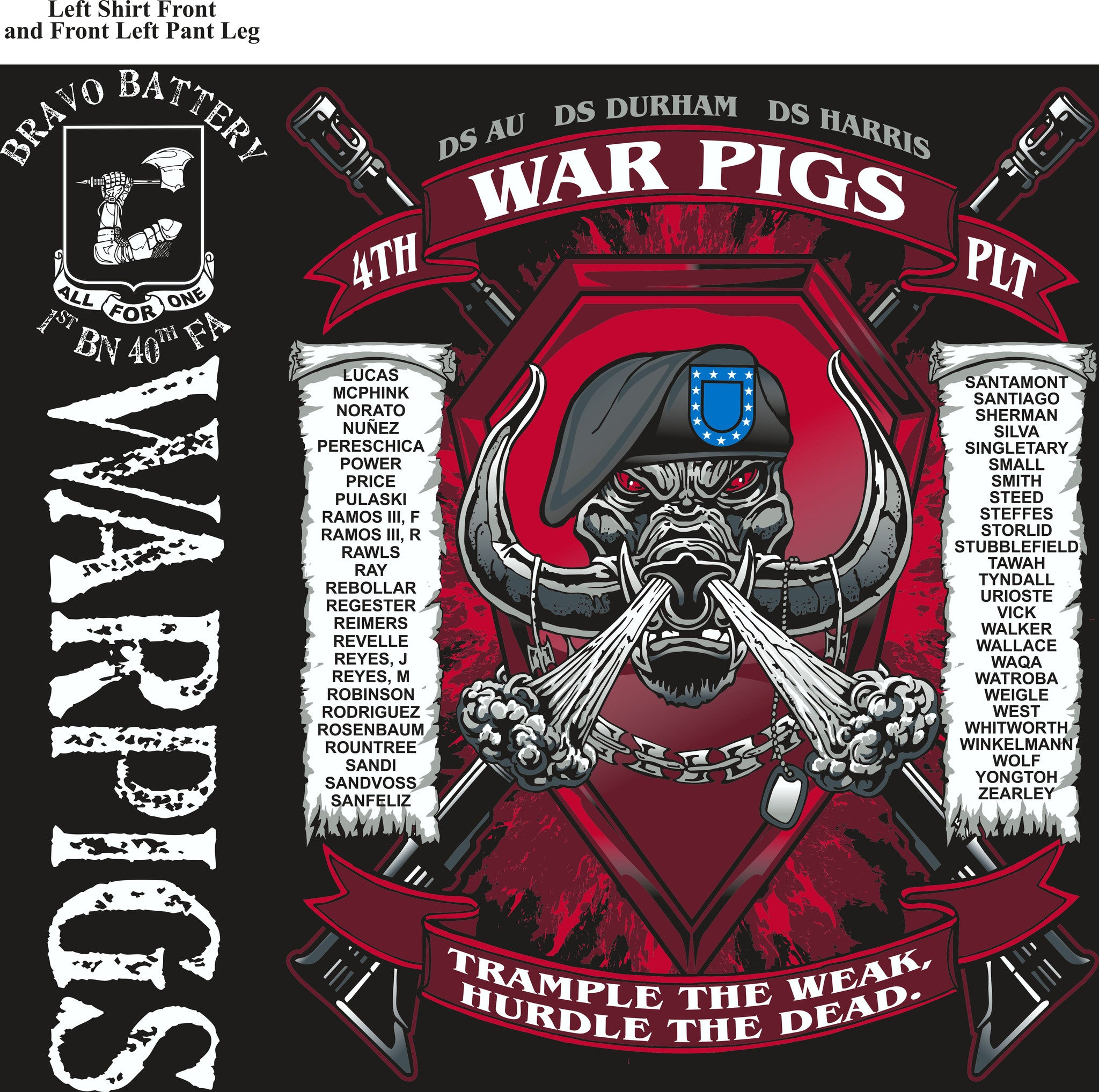 PLATOON SHIRTS (2nd generation print) BRAVO 1st 40th WARPIGS APR 2017