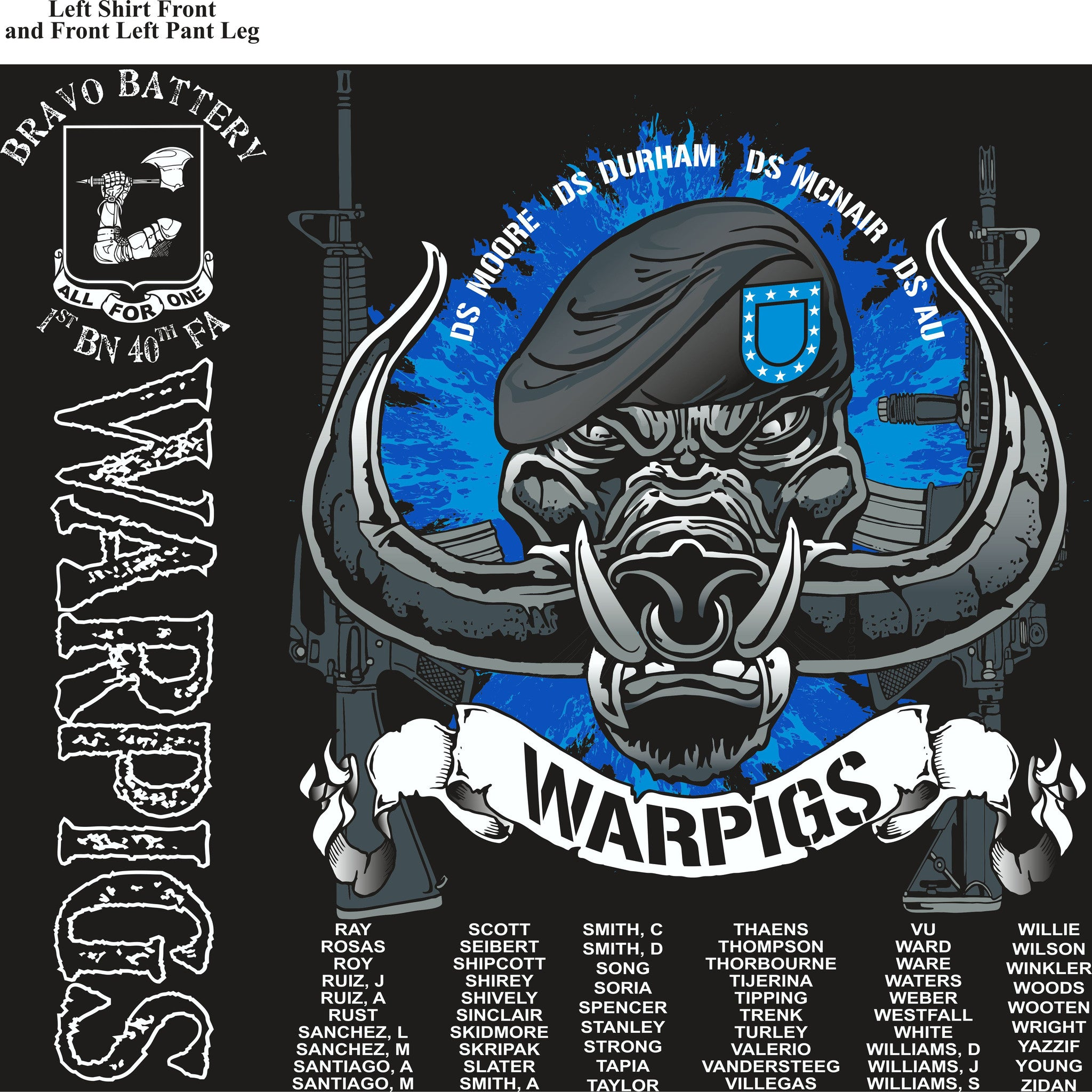 PLATOON SHIRTS (2nd generation print) BRAVO 1st 40th WARPIGS OCT 2016