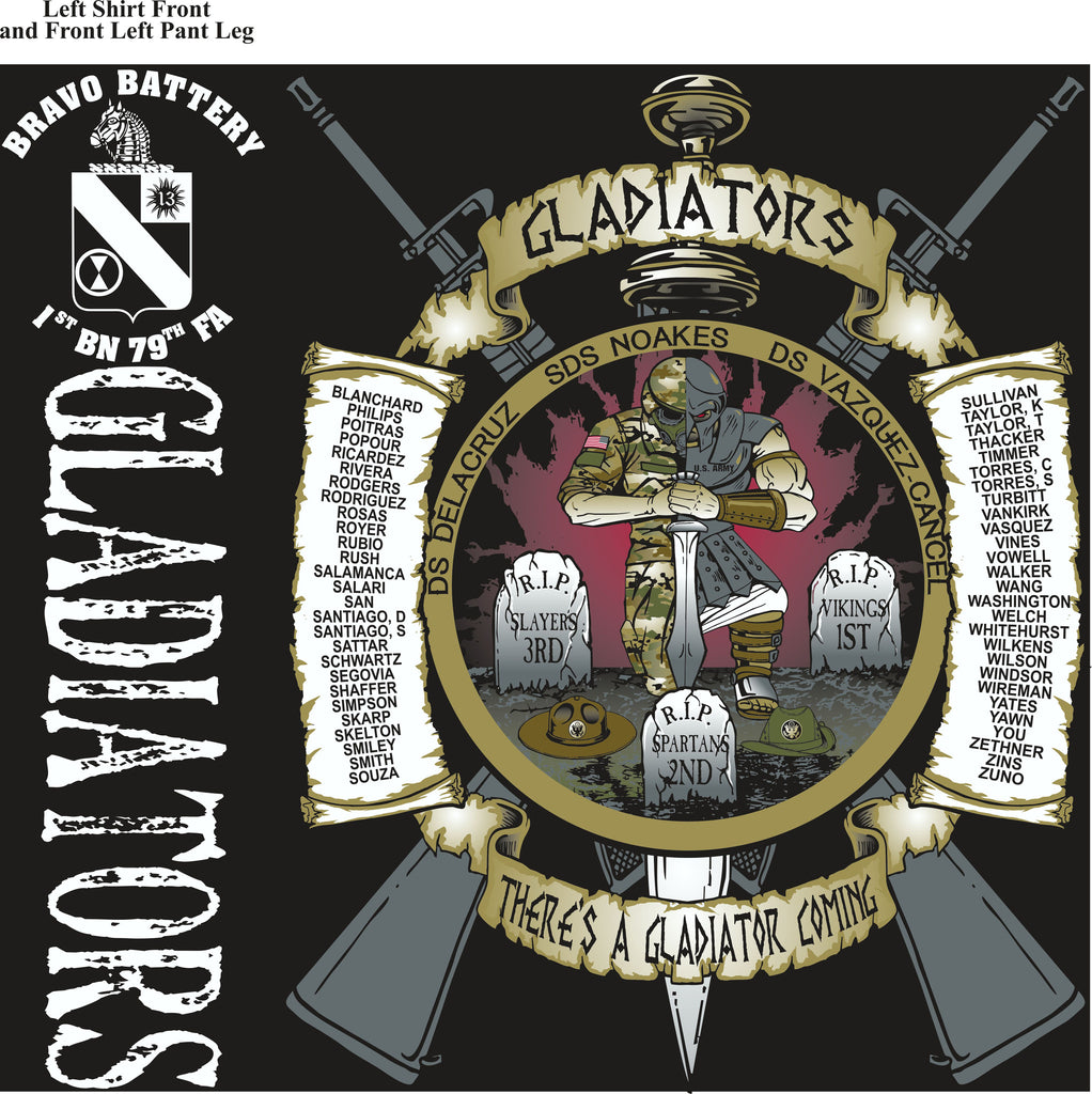 PLATOON SHIRTS (2nd generation print) BRAVO 1st 79th GLADIATORS MAR 2017