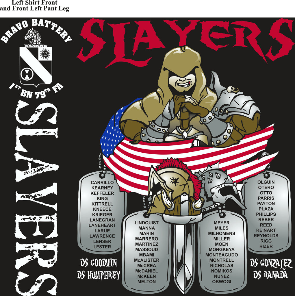 PLATOON SHIRTS (2nd generation print) BRAVO 1st 79th SLAYERS MAR 2017