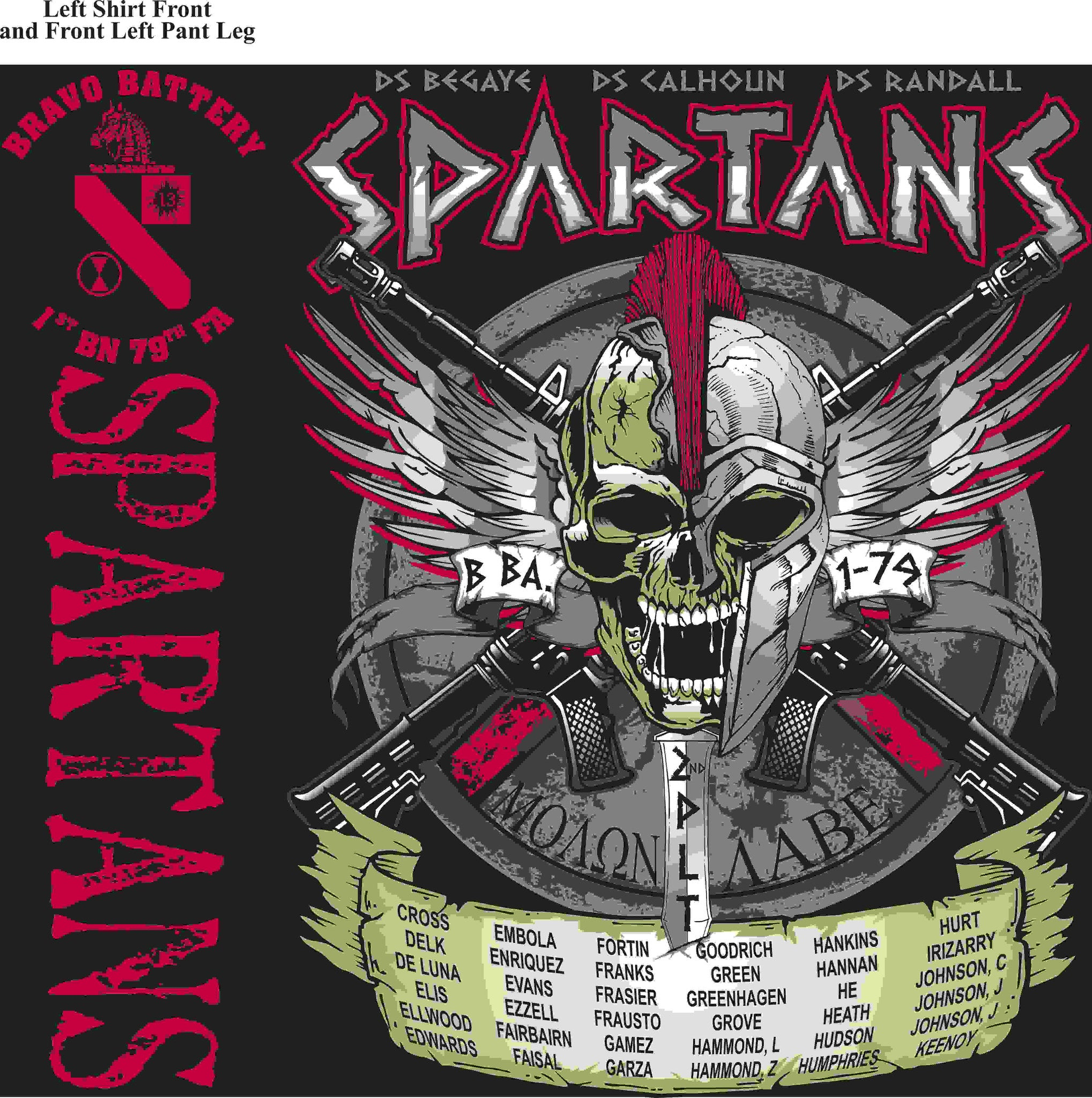 PLATOON SHIRTS (2nd generation print) BRAVO 1st 79th SPARTANS MAY 2016