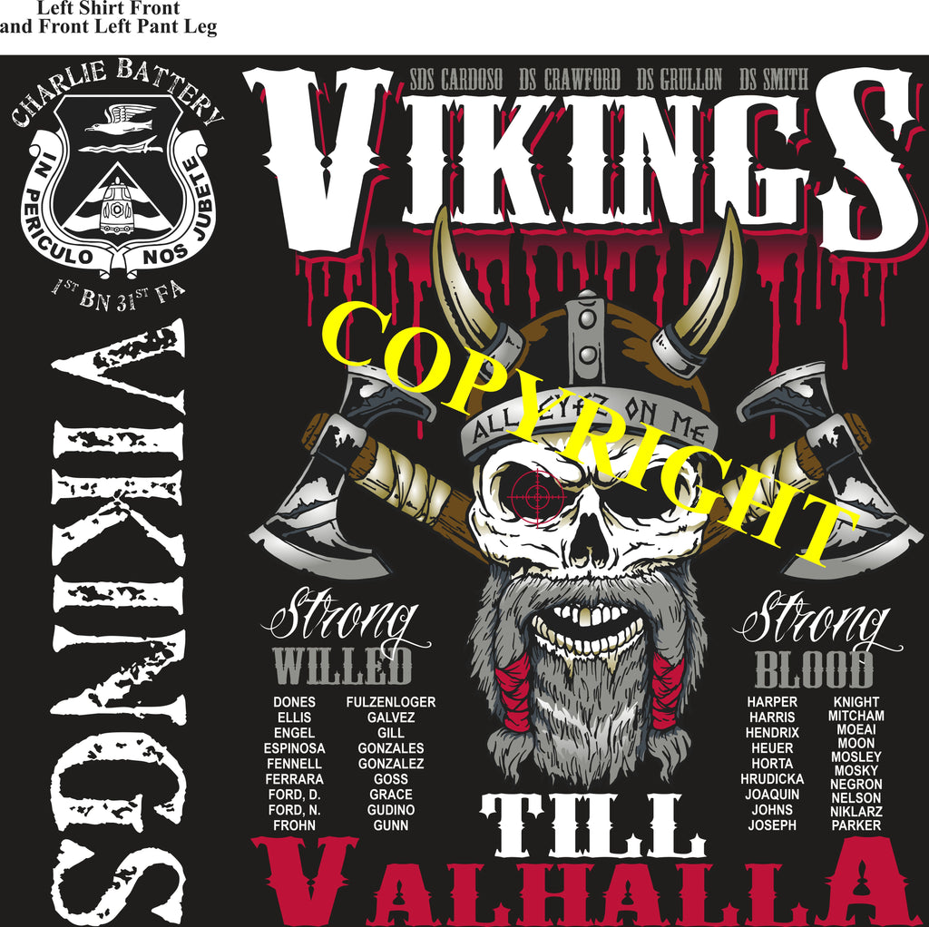 Platoon Shirts (2nd generation print) CHARLIE 1st 31st VIKINGS JAN 2021