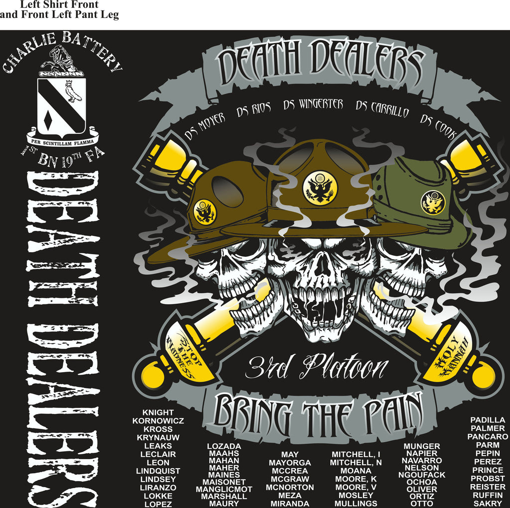 PLATOON SHIRTS (2nd generation print) CHARLIE 1st 19th DEATH DEALERS DEC 2016