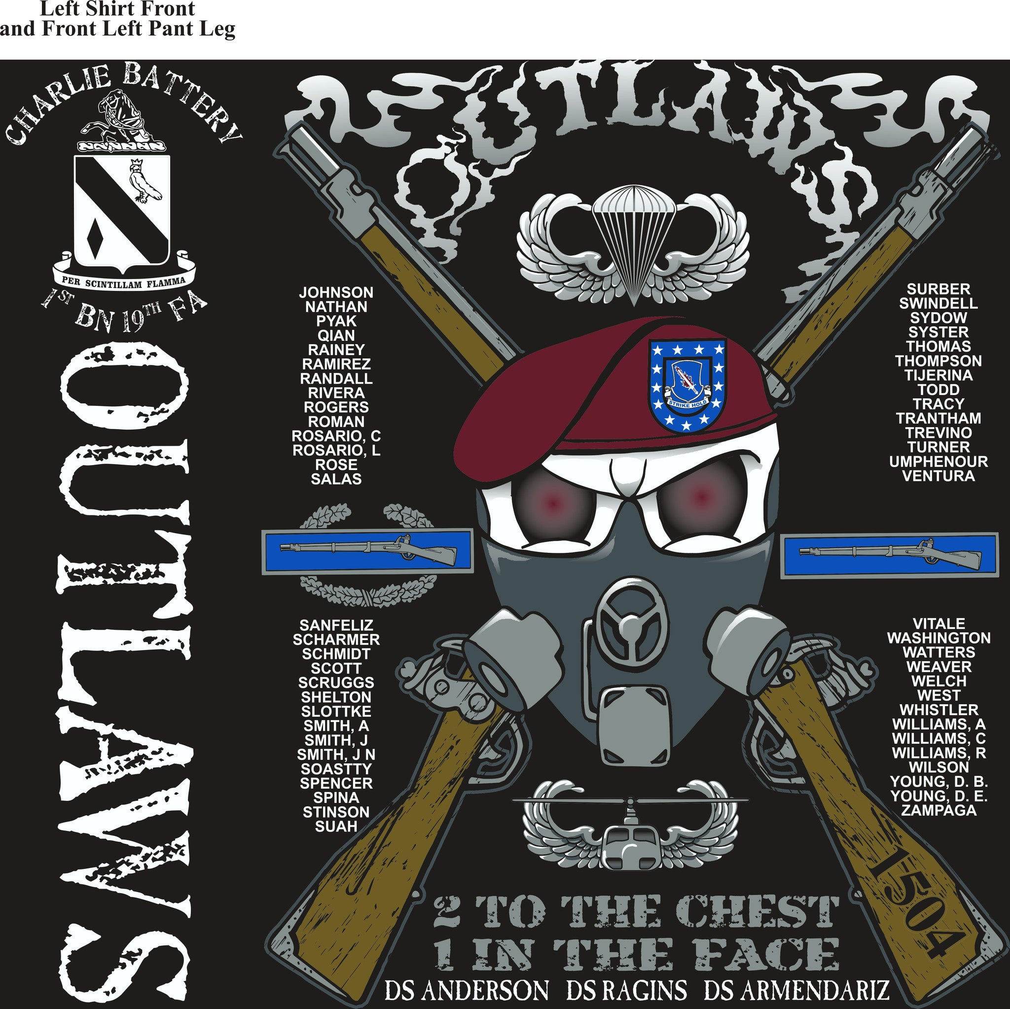 PLATOON SHIRTS (2nd generation print) CHARLIE 1st 19th OUTLAWS DEC 2016