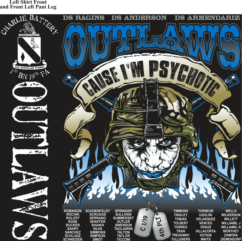 PLATOON SHIRTS (2nd generation print) CHARLIE 1st 19th OUTLAWS MAR 2017