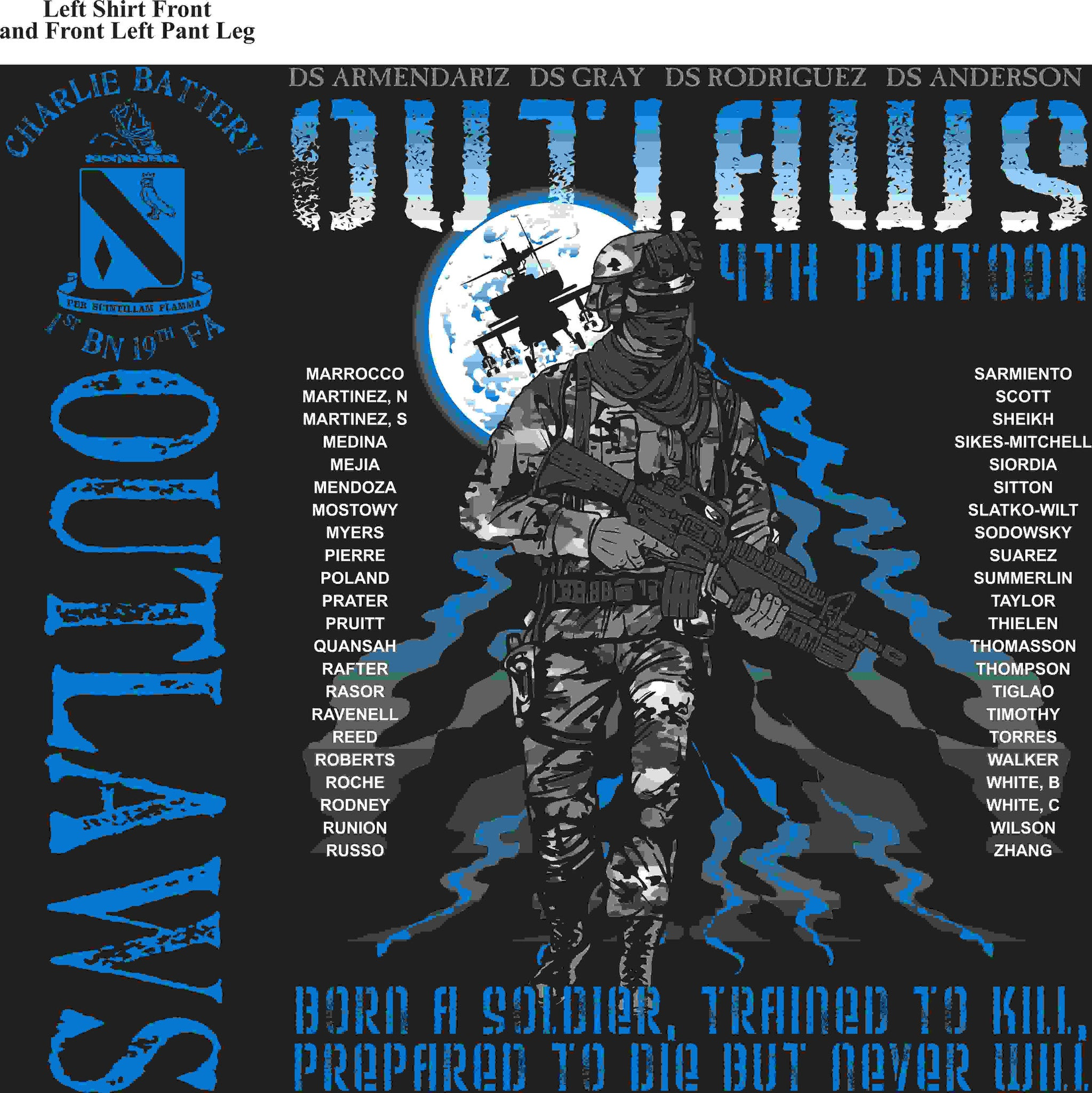 PLATOON SHIRTS (2nd generation print) CHARLIE 1st 19TH OUTLAWS MAY 2016