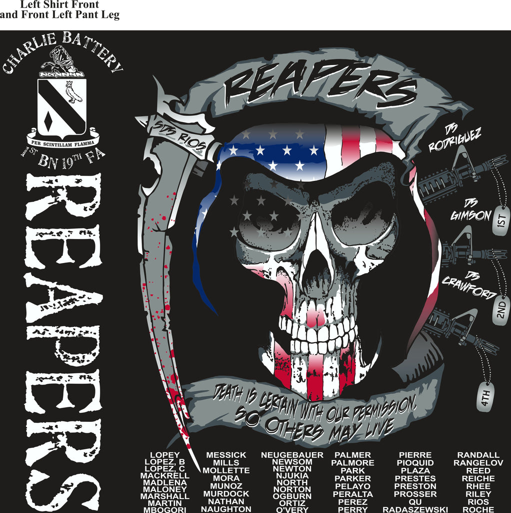 Platoon Shirts (2nd generation print) CHARLIE 1st 19th REAPERS JULY 2018