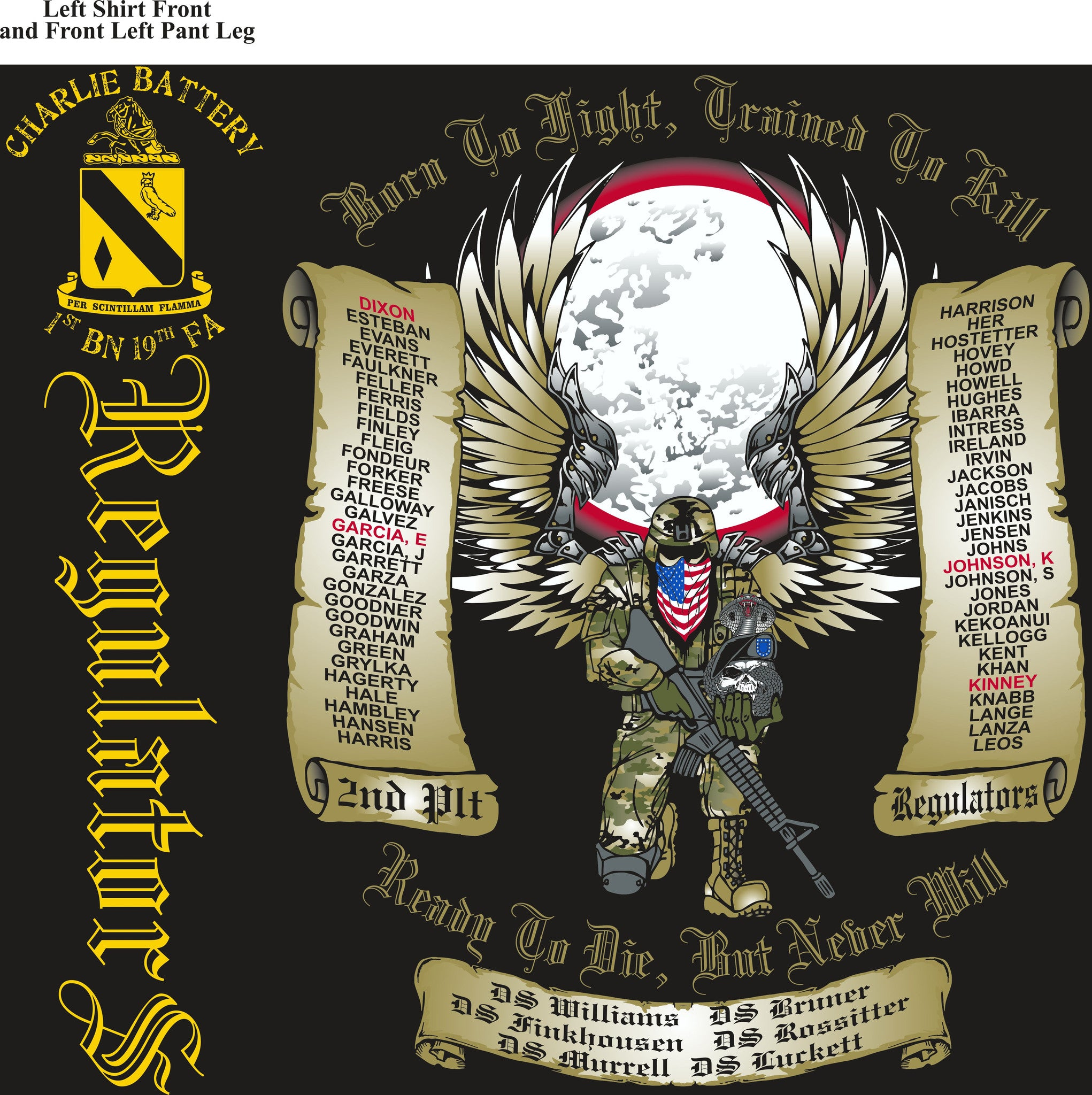 PLATOON SHIRTS (2nd generation print) CHARLIE 1st 19th REGULATORS SEPT 2016