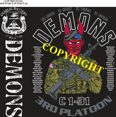Platoon Shirts ( 2nd generation print) CHARLIE 1st 31st DEMONS NOV 2019