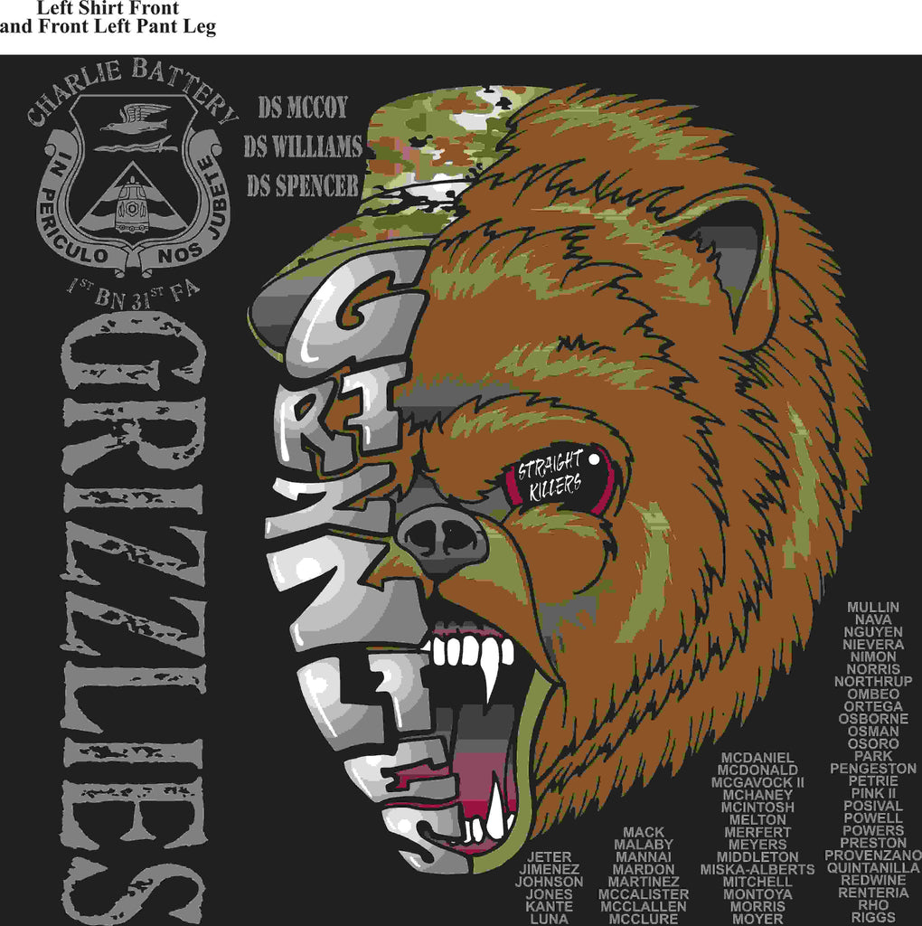 PLATOON SHIRTS (2nd generation print) CHARLIE 1st 31st GRIZZLIES APR 2016