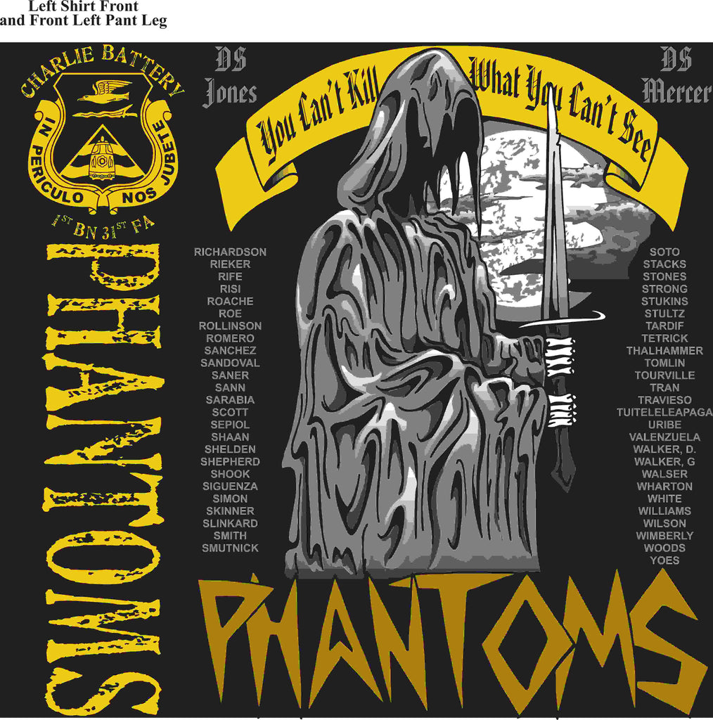 PLATOON SHIRTS (2nd generation print) CHARLIE 1st 31st PHANTOMS APR 2016
