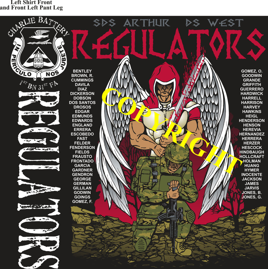 Platoon Shirts (2nd generation print) CHARLIE 1st 31st REGULATORS SEPT 2019