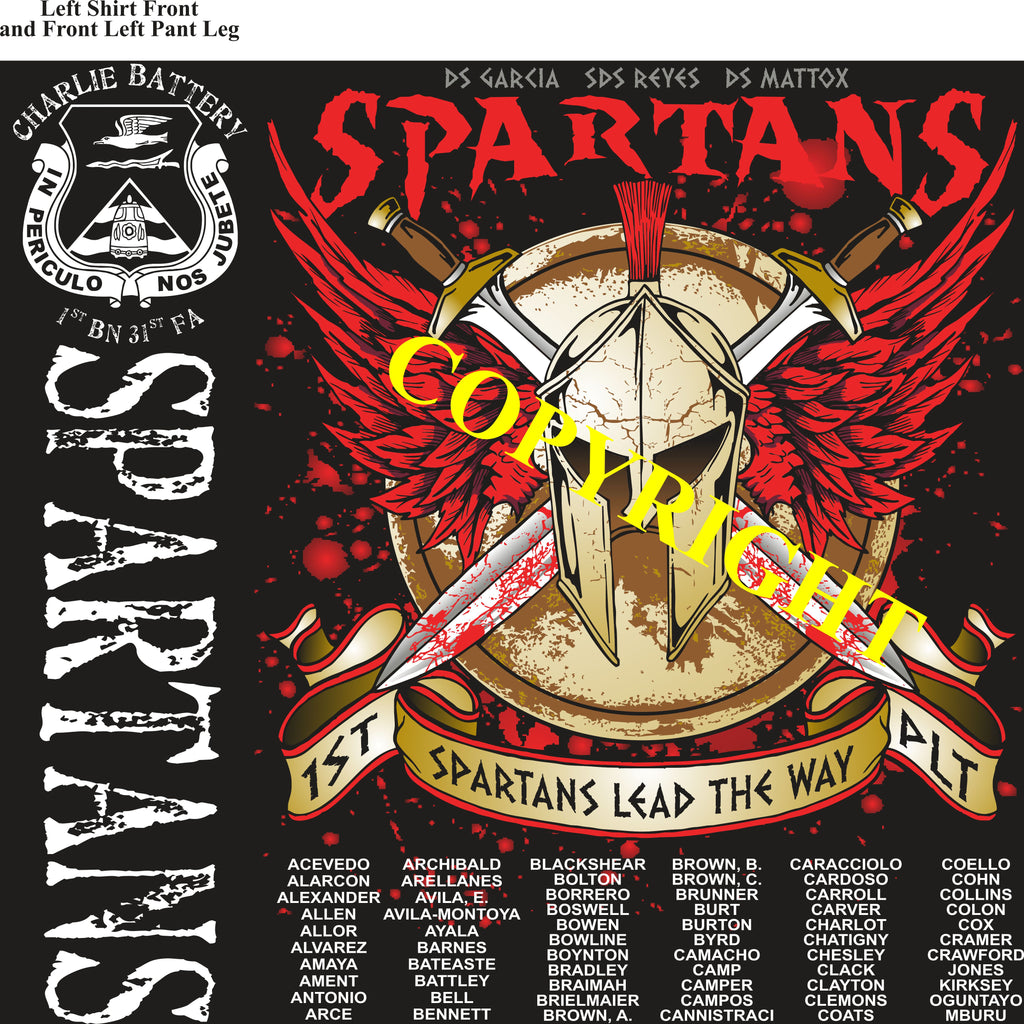 Platoon Shirts (2nd generation print) CHARLIE 1st 31st SPARTANS SEPT 2019