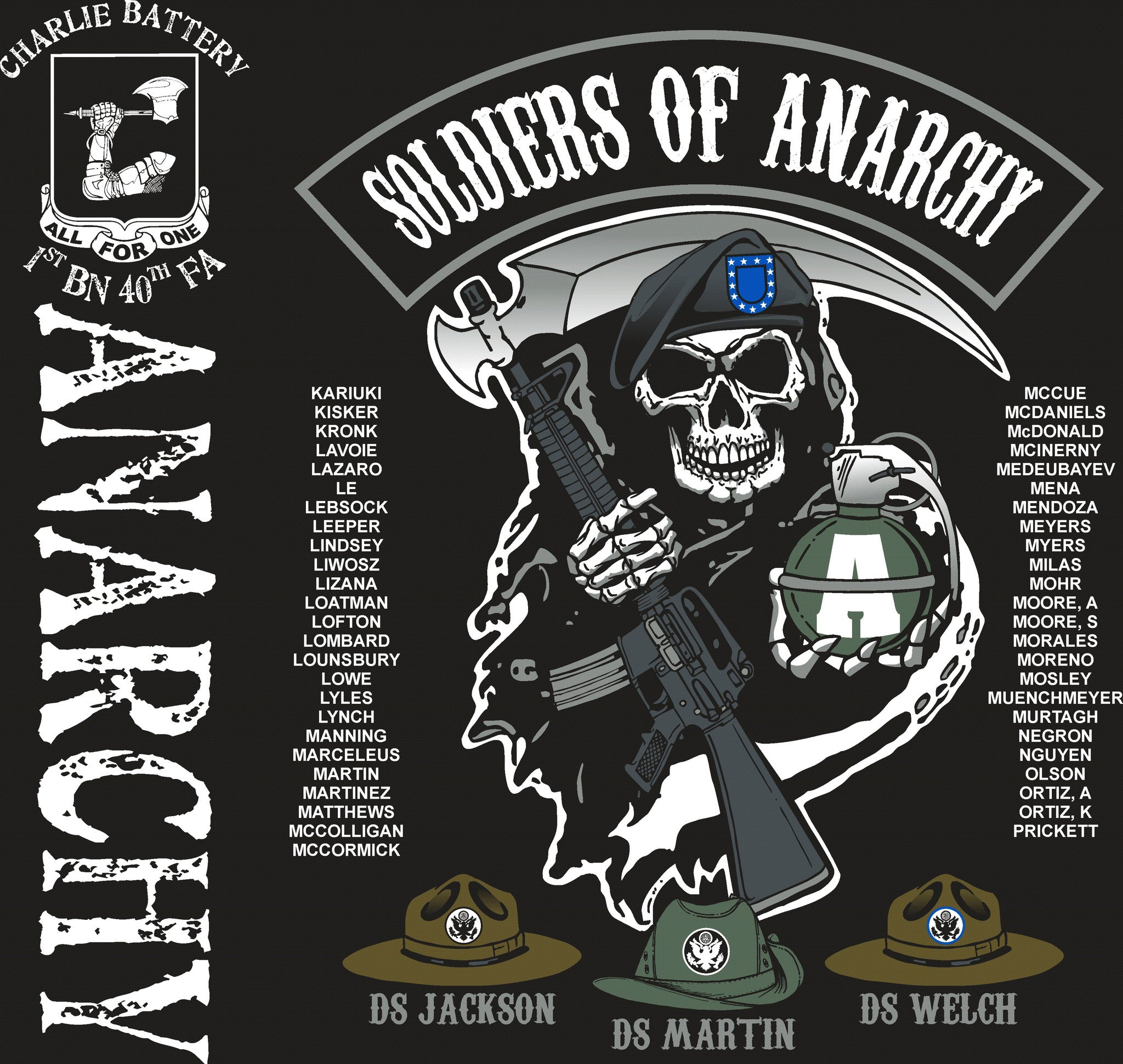 Platoon Shirts CHARLIE 1st 40th ANARCHY OCT 2015