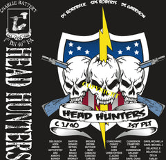 Platoon Shirts (2nd generation print) CHARLIE 1st 40th HEAD HUNTERS DEC 2018