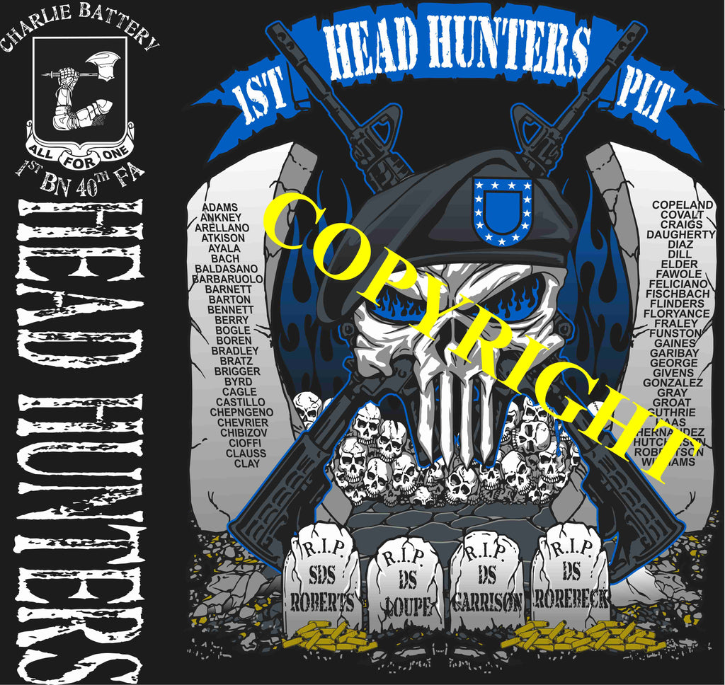 Platoon Shirts (2nd generation print) CHARLIE 1st 40th HEAD HUNTERS JULY 2019
