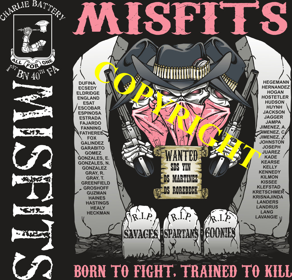 Platoon Shirts (2nd generation print) CHARLIE 1st 40th MISFITS OCT 2019
