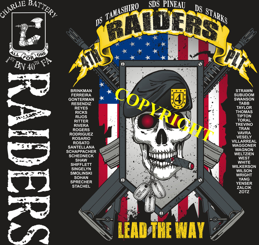Platoon Shirts (2nd generation print) CHARLIE 1st 40th RAIDERS MAR 2019