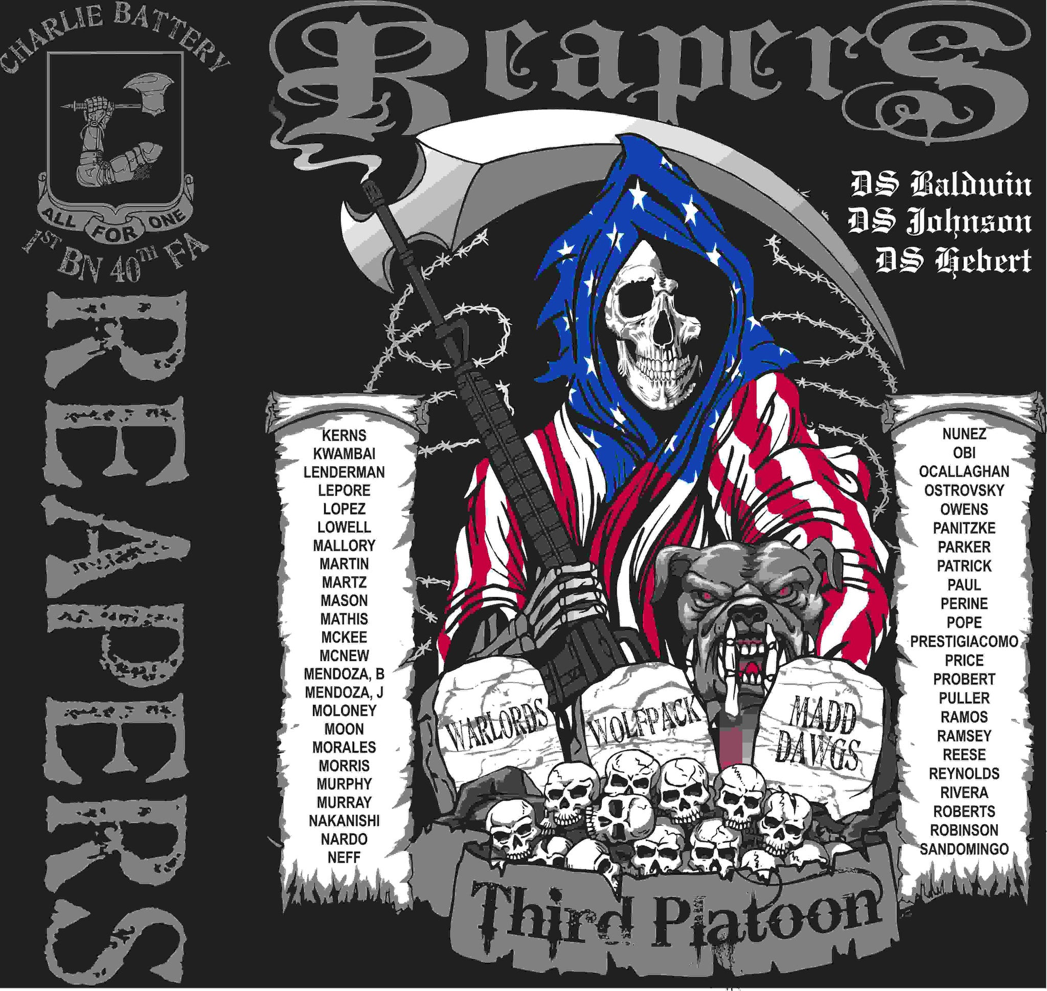 PLATOON SHIRTS (2nd generation print) CHARLIE 1st 40th REAPERS MAY 2016