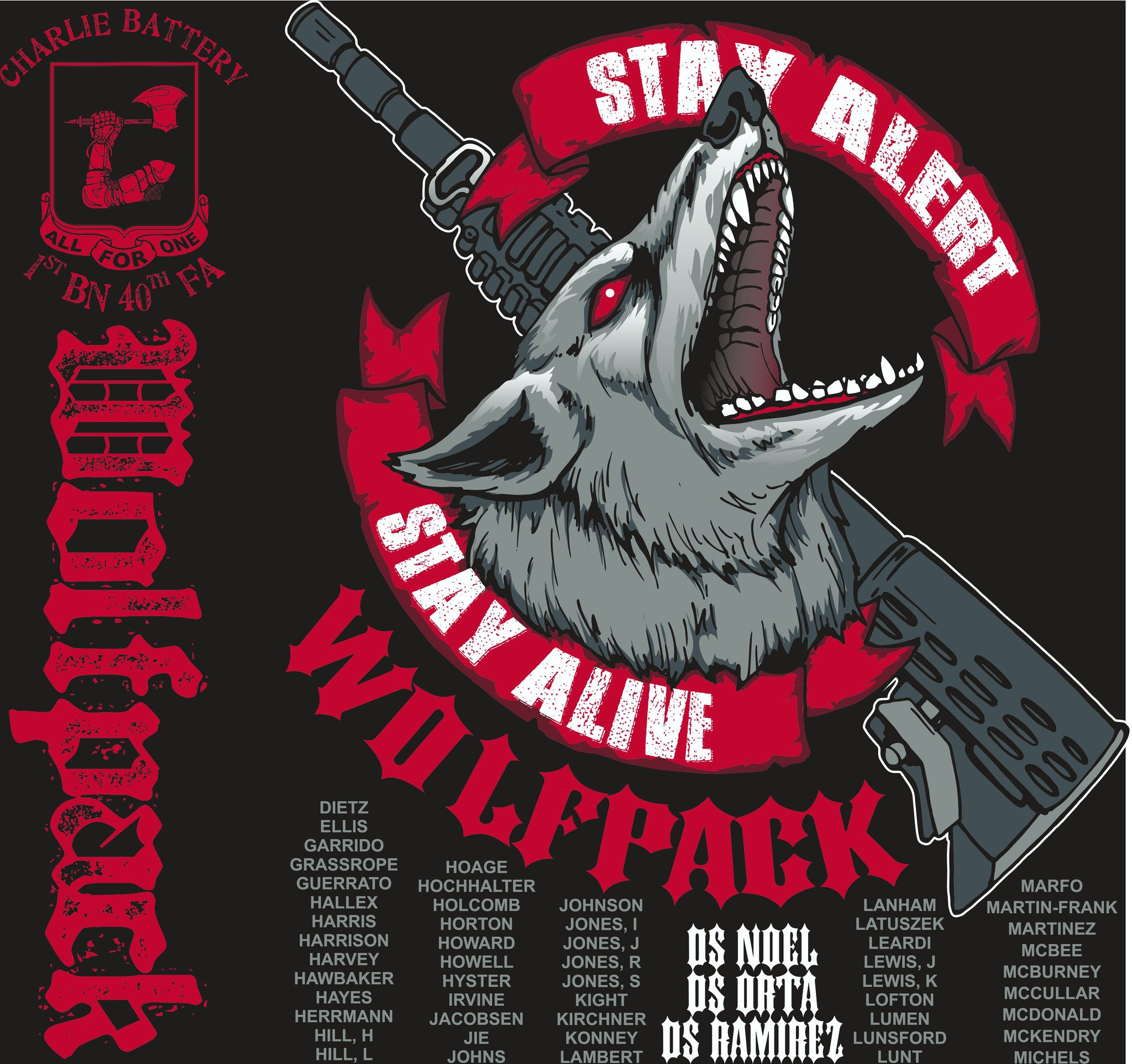 PLATOON SHIRTS (2nd generation print) CHARLIE 1st 40th WOLFPACK AUG 2016