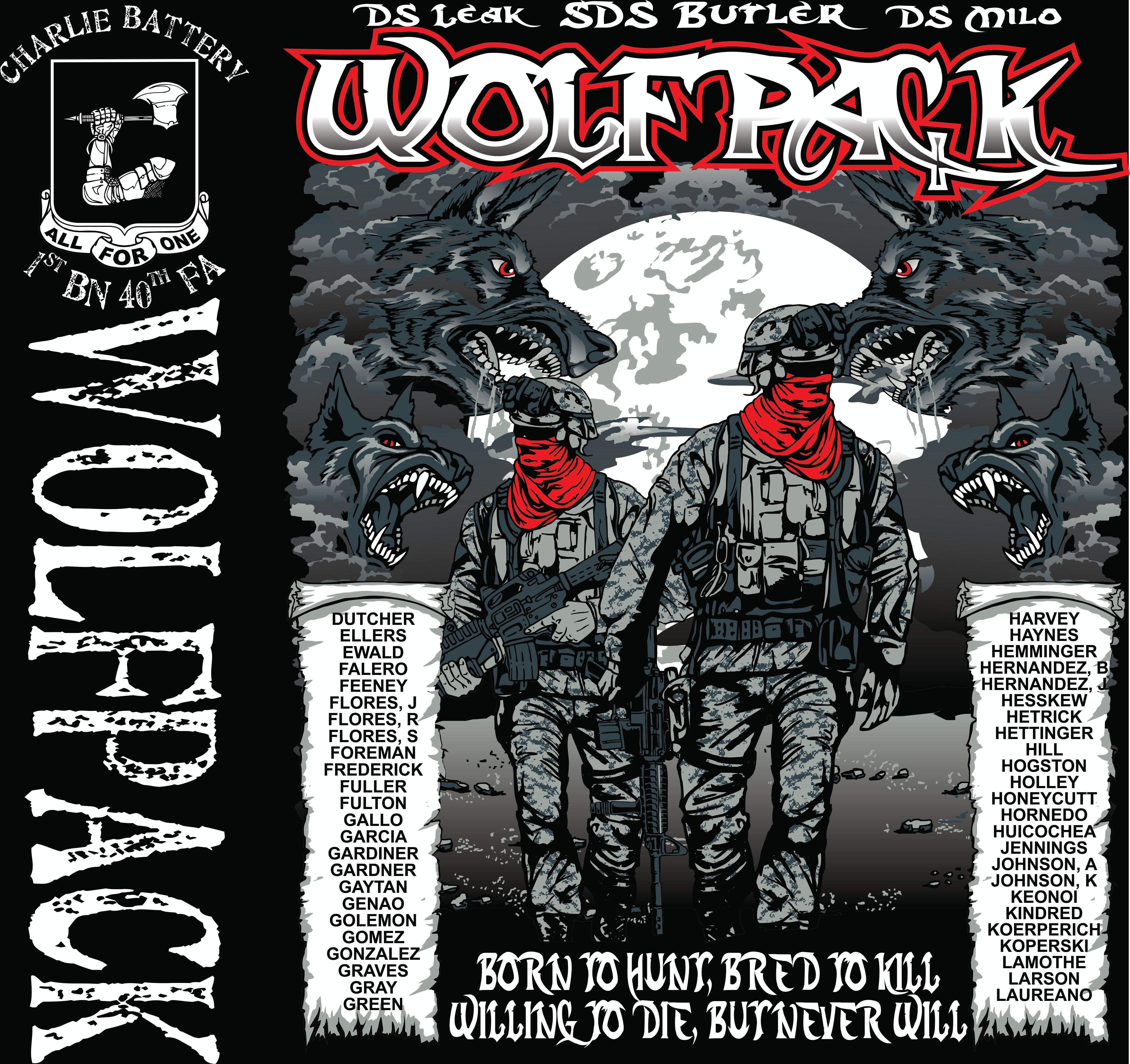Platoon Shirts (2nd generation print) CHARLIE 1st 40th WOLFPACK SEPT 2018