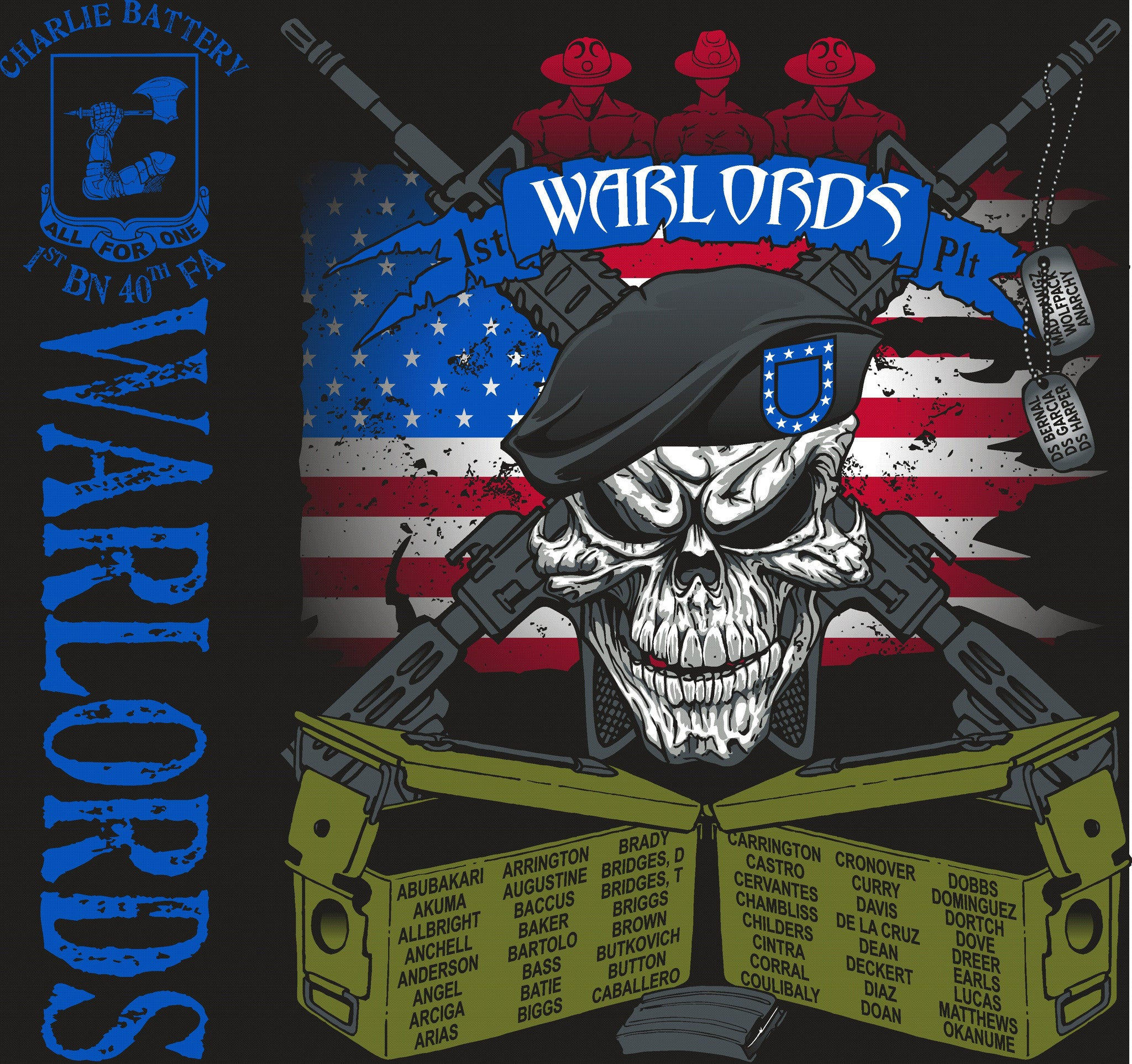 Platoon Shirts CHARLIE 1st 40th WARLORDS OCT 2015