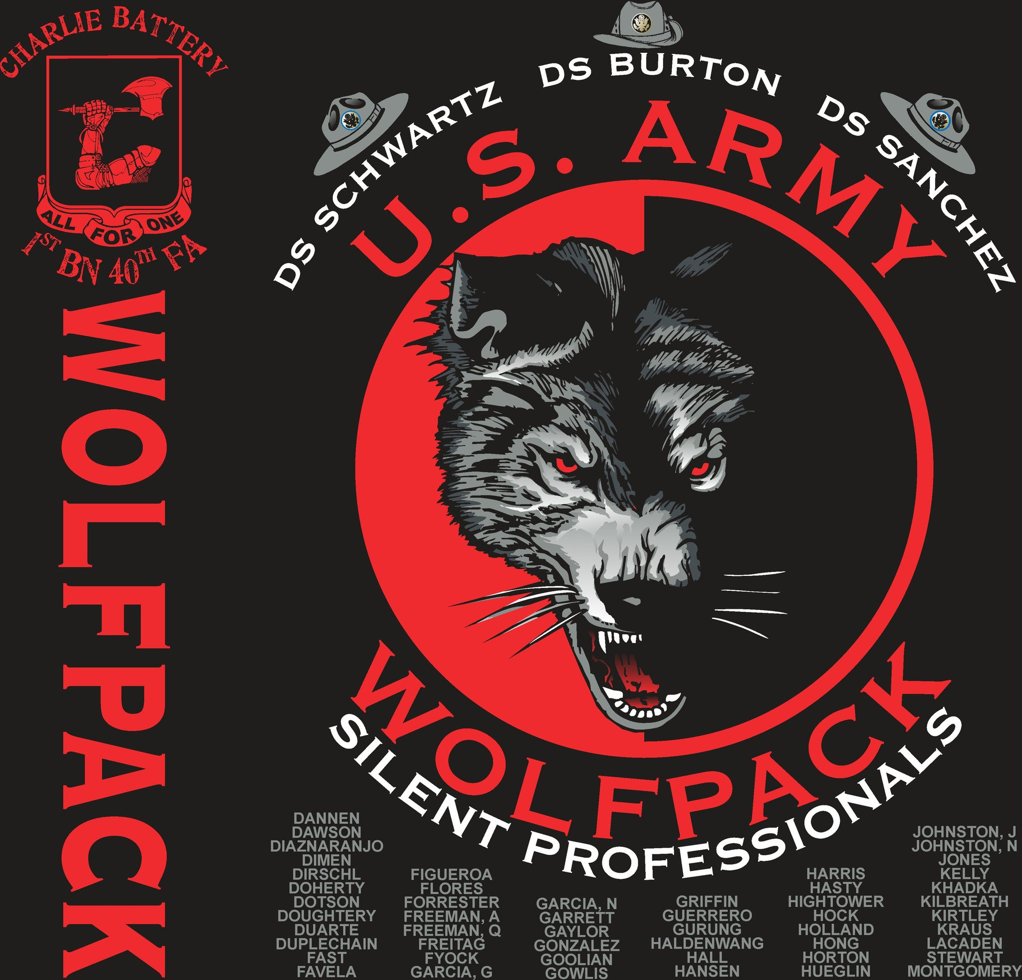 Platoon Shirts CHARLIE 1st 40th WOLFPACK APR 2015