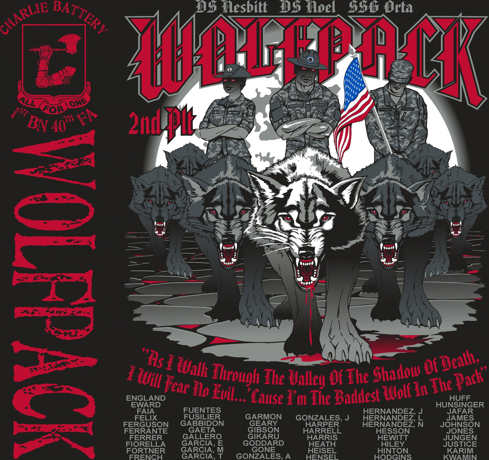 Platoon Shirts CHARLIE 1st 40th WOLFPACK OCT 2015