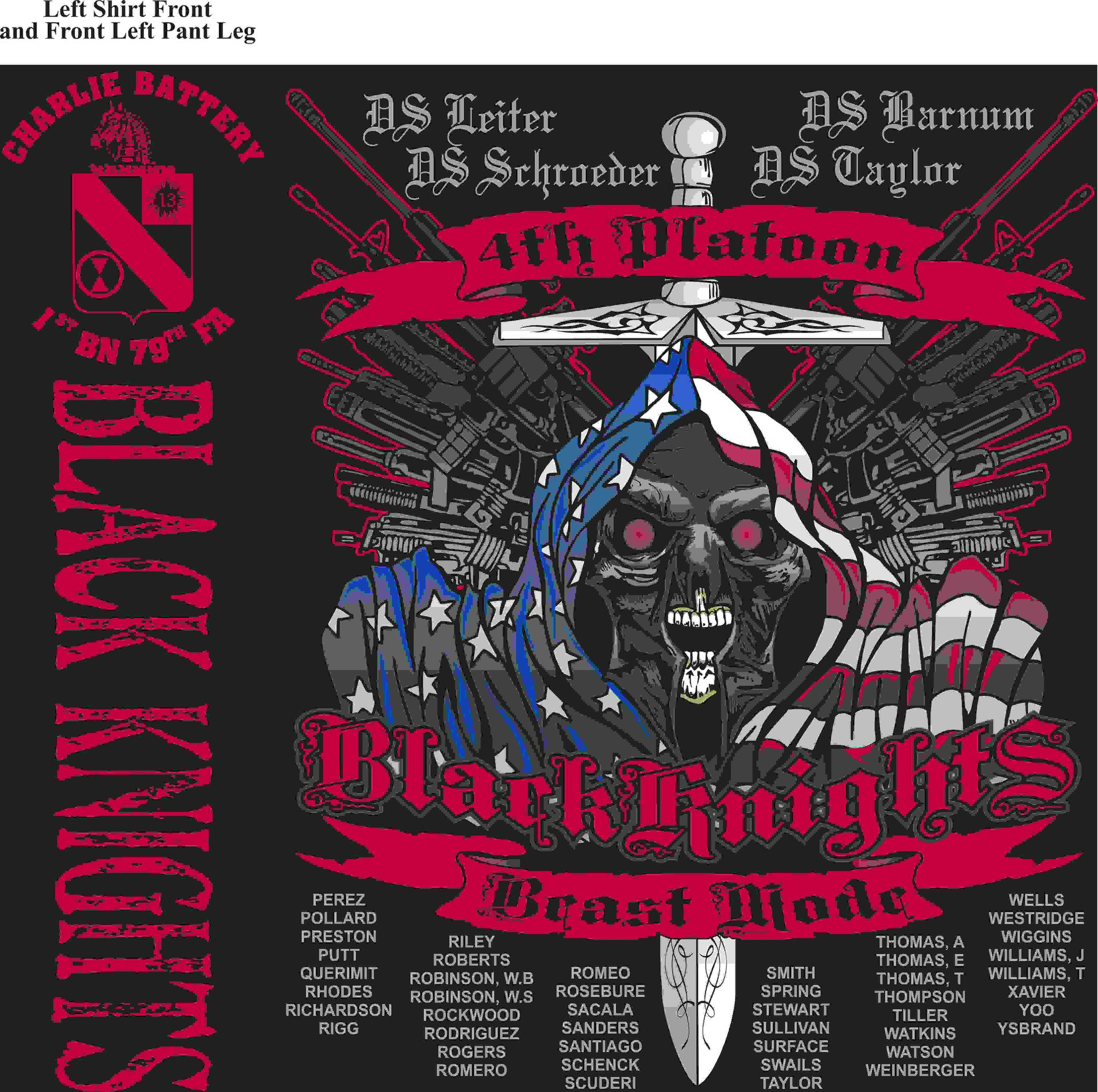 PLATOON SHIRTS (2nd generation print) CHARLIE 1st 79th BLACK KNIGHTS APR 2016