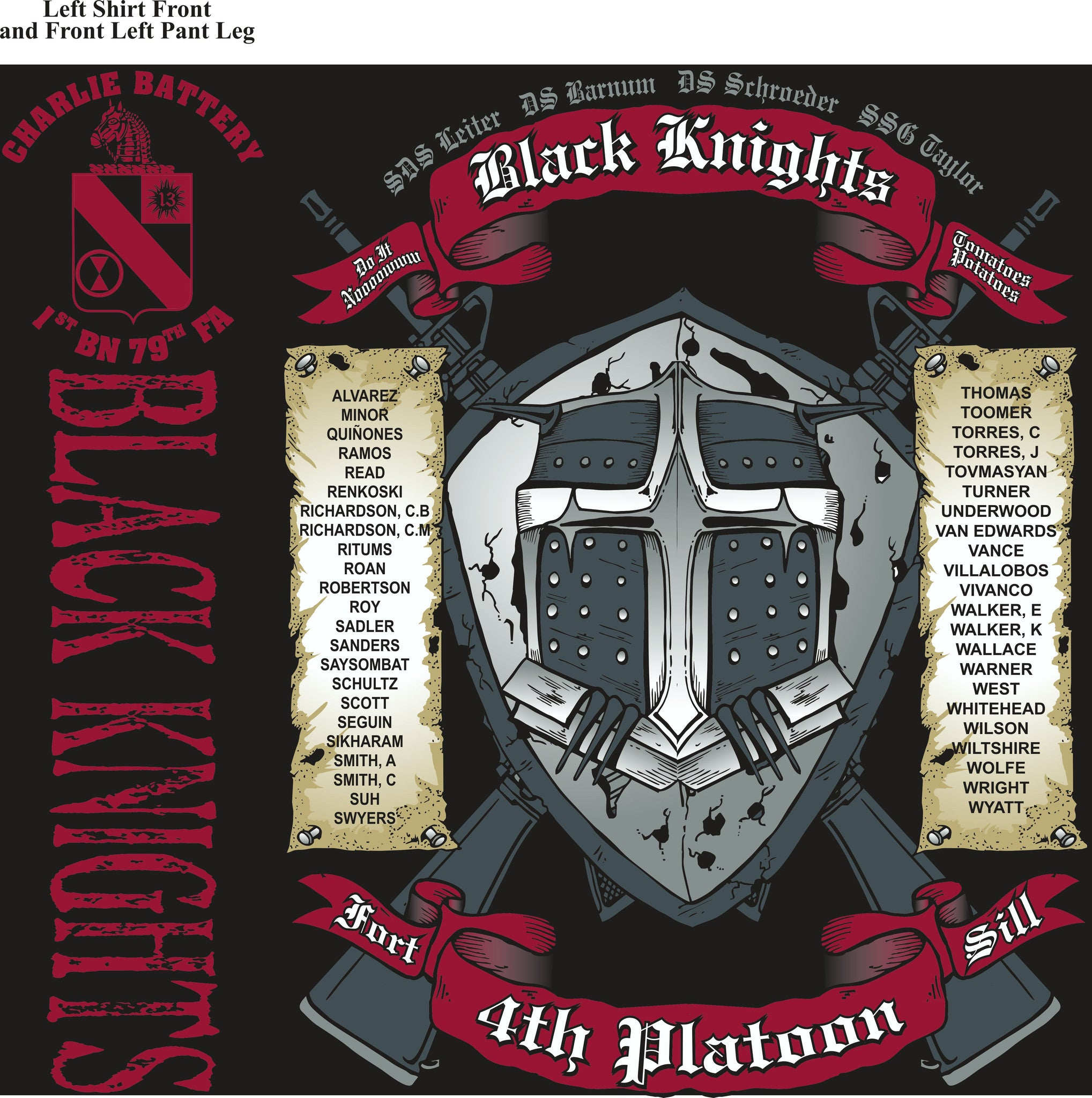 PLATOON SHIRTS (2nd generation print) CHARLIE 1st 79th BLACK KNIGHTS JULY 2016